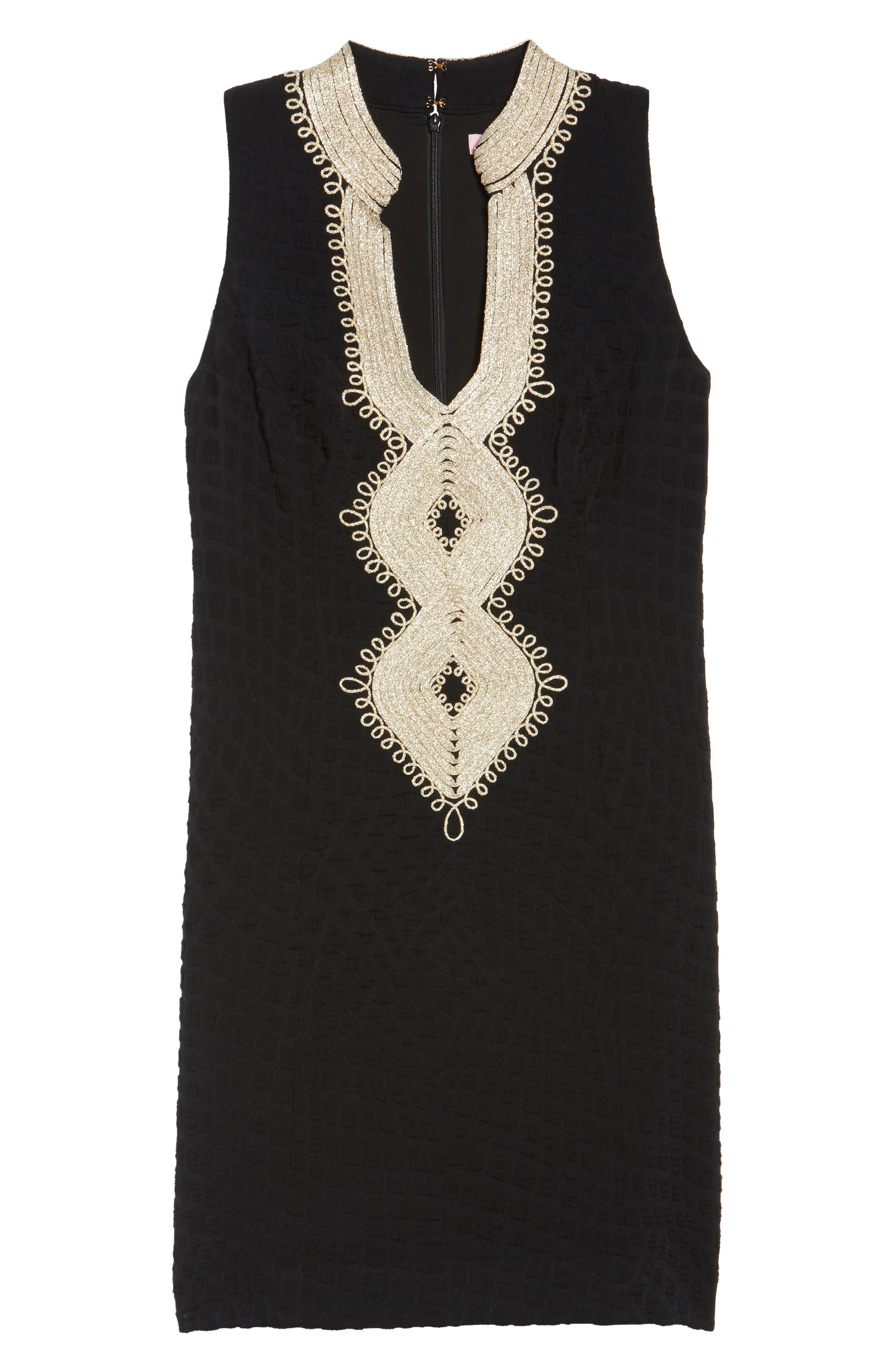 Alexa Sheath Dress,                             Alternate thumbnail 6, color,                             ONYX