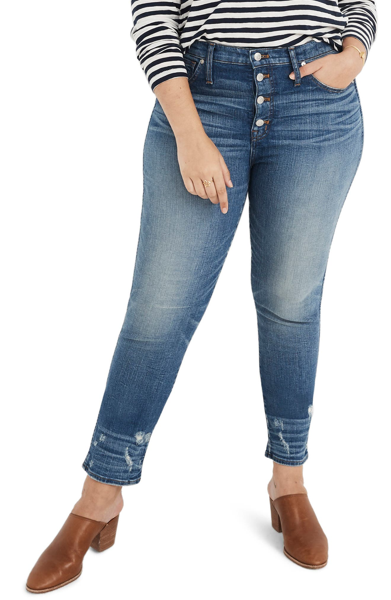 MADEWELL,                             Distressed Button Front High Waist Slim Straight Jeans,                             Alternate thumbnail 2, color,                             CAROLINE