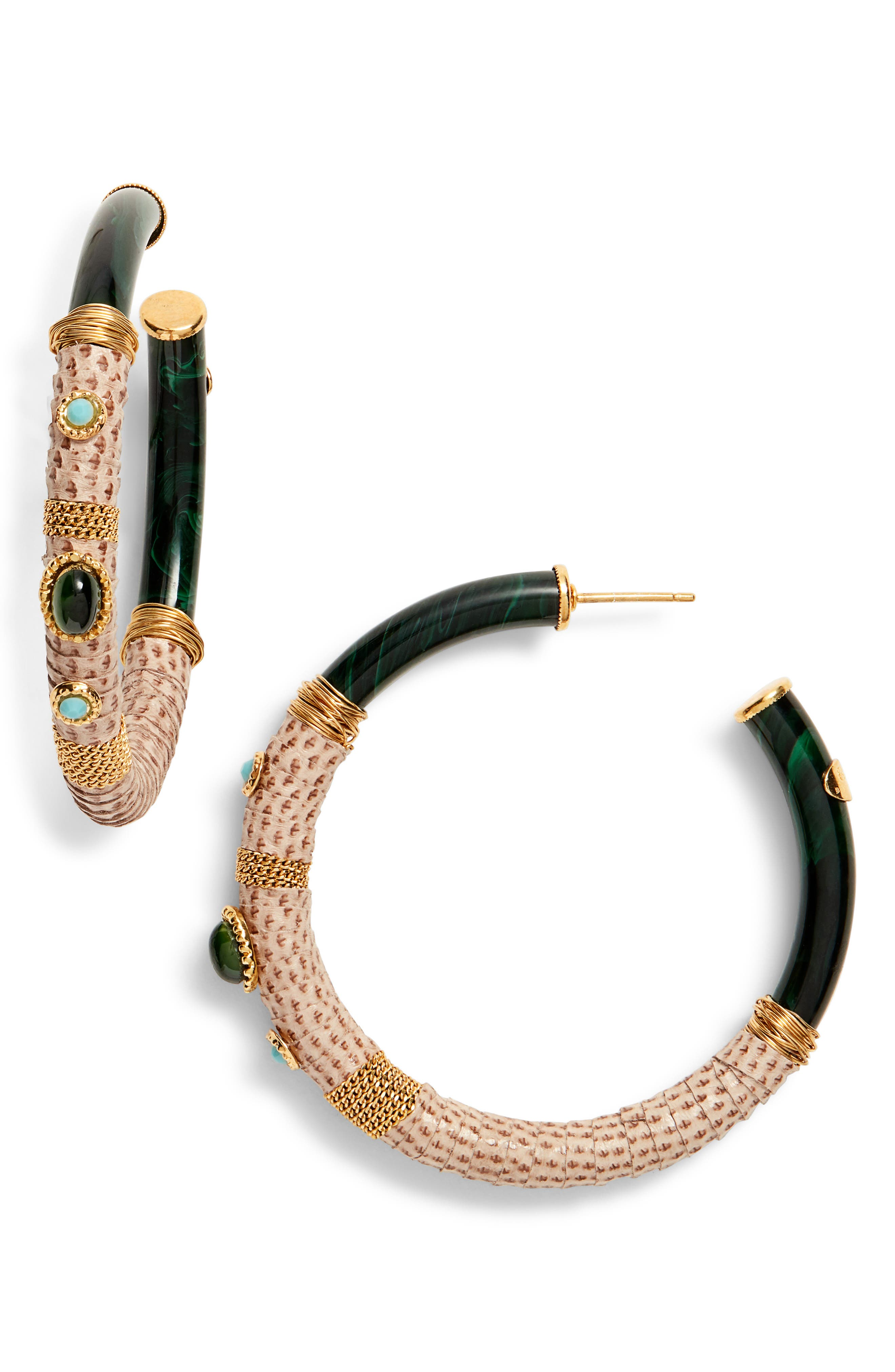 Comporta Genuine Snakeskin Wrapped Hoop Earrings,                         Main,                         color, PURPLE