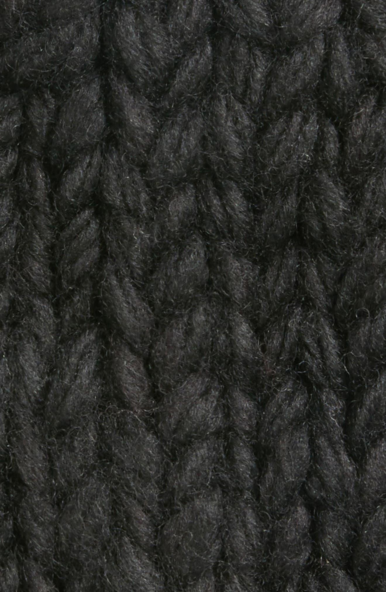 Chunky Knit Pompom Beanie,                             Alternate thumbnail 2, color,                             BLACK