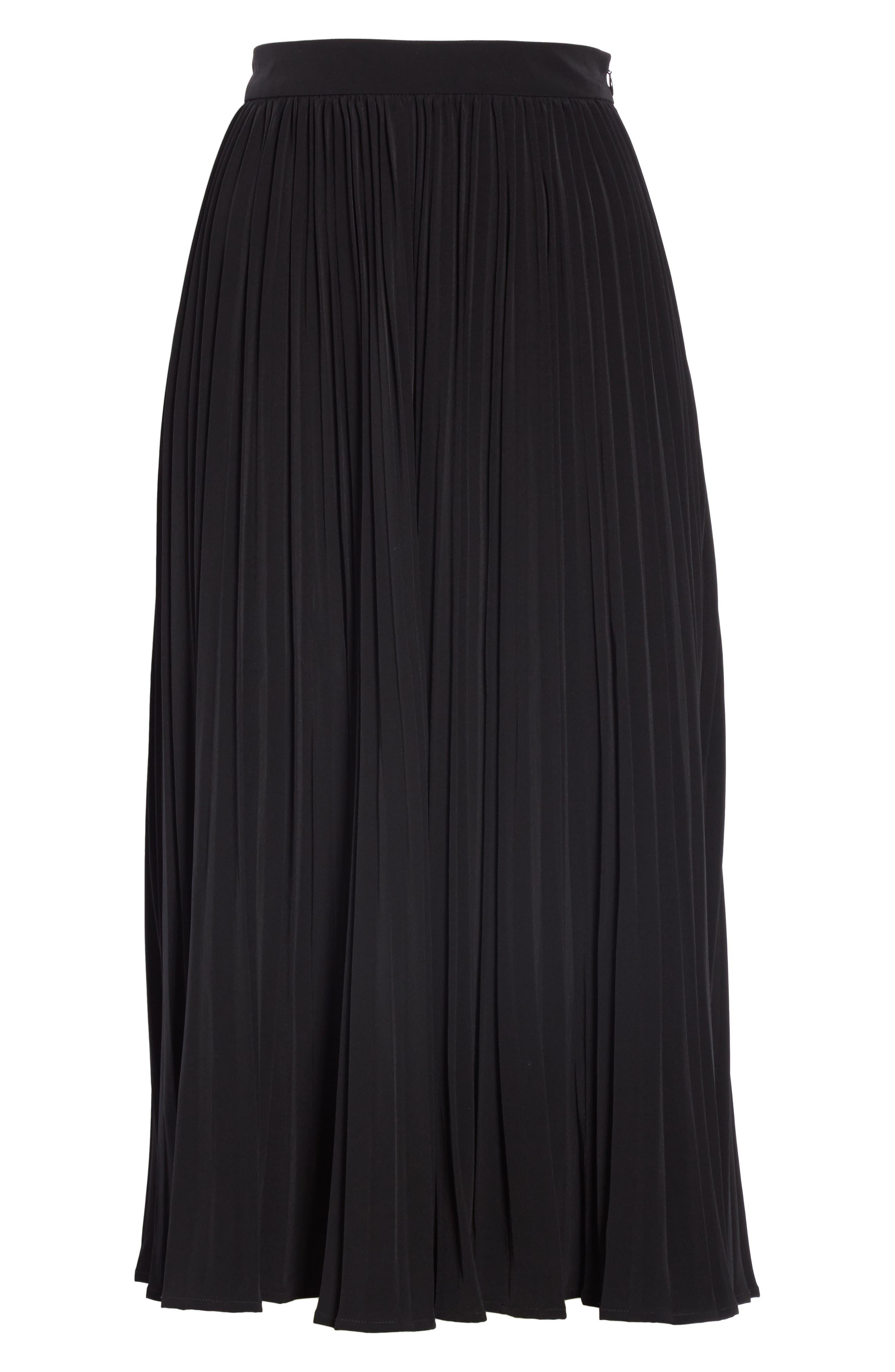Essentials Pleated Midi Skirt,                             Alternate thumbnail 6, color,                             BLACK