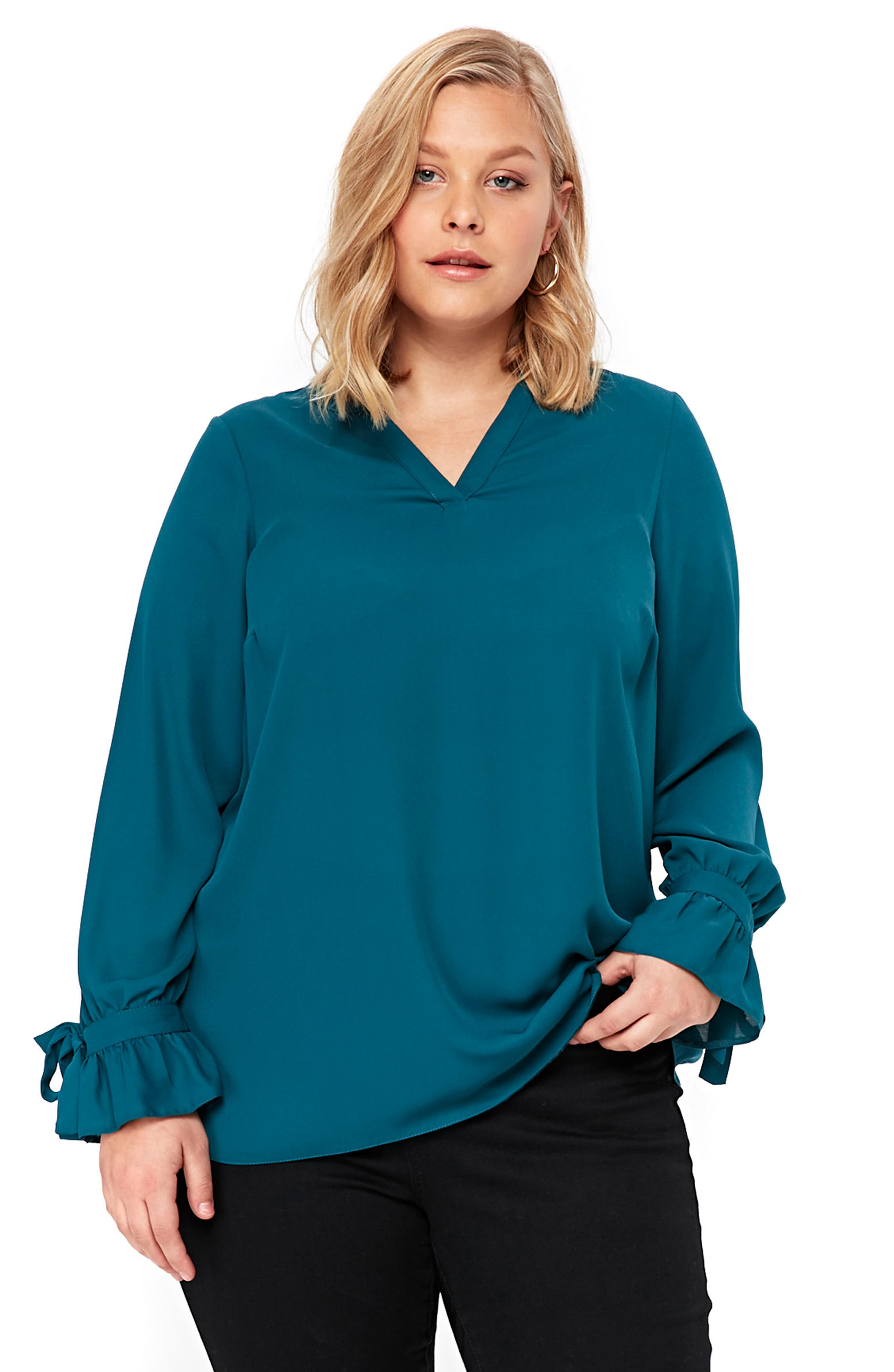 Tie Ruffle Cuff Top,                             Alternate thumbnail 5, color,                             400