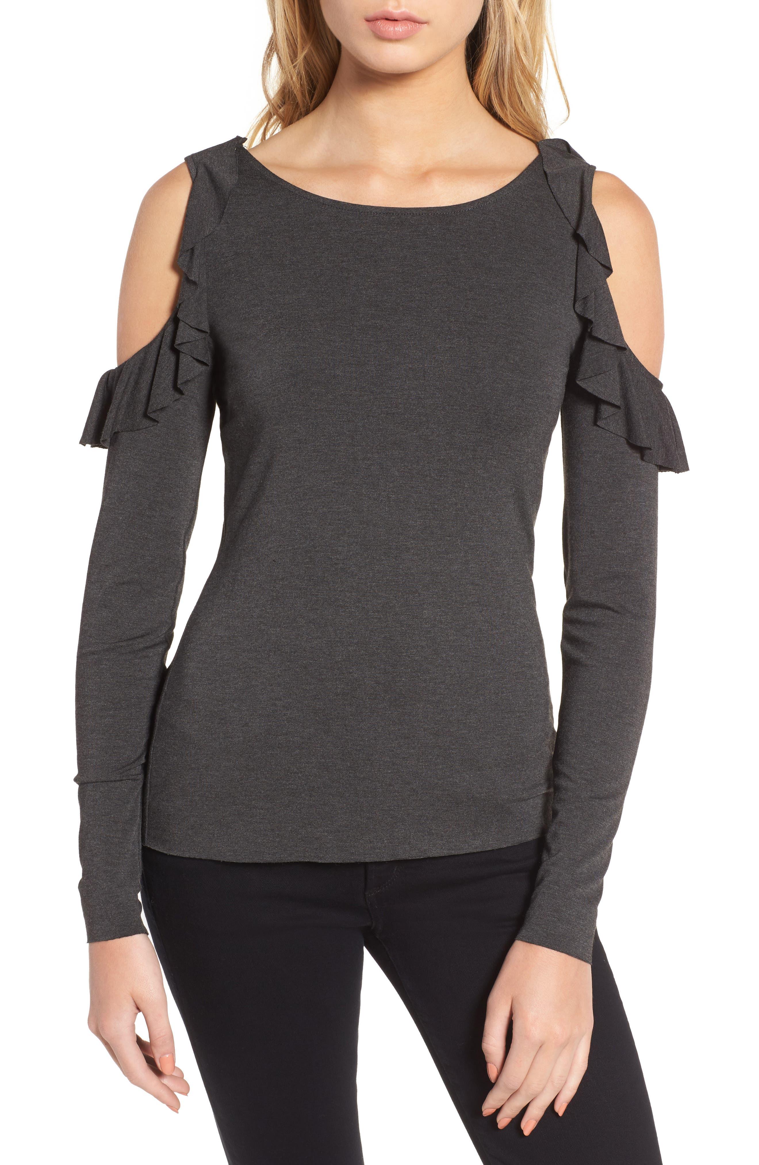 Ruffle Cold Shoulder Top,                         Main,                         color, 421