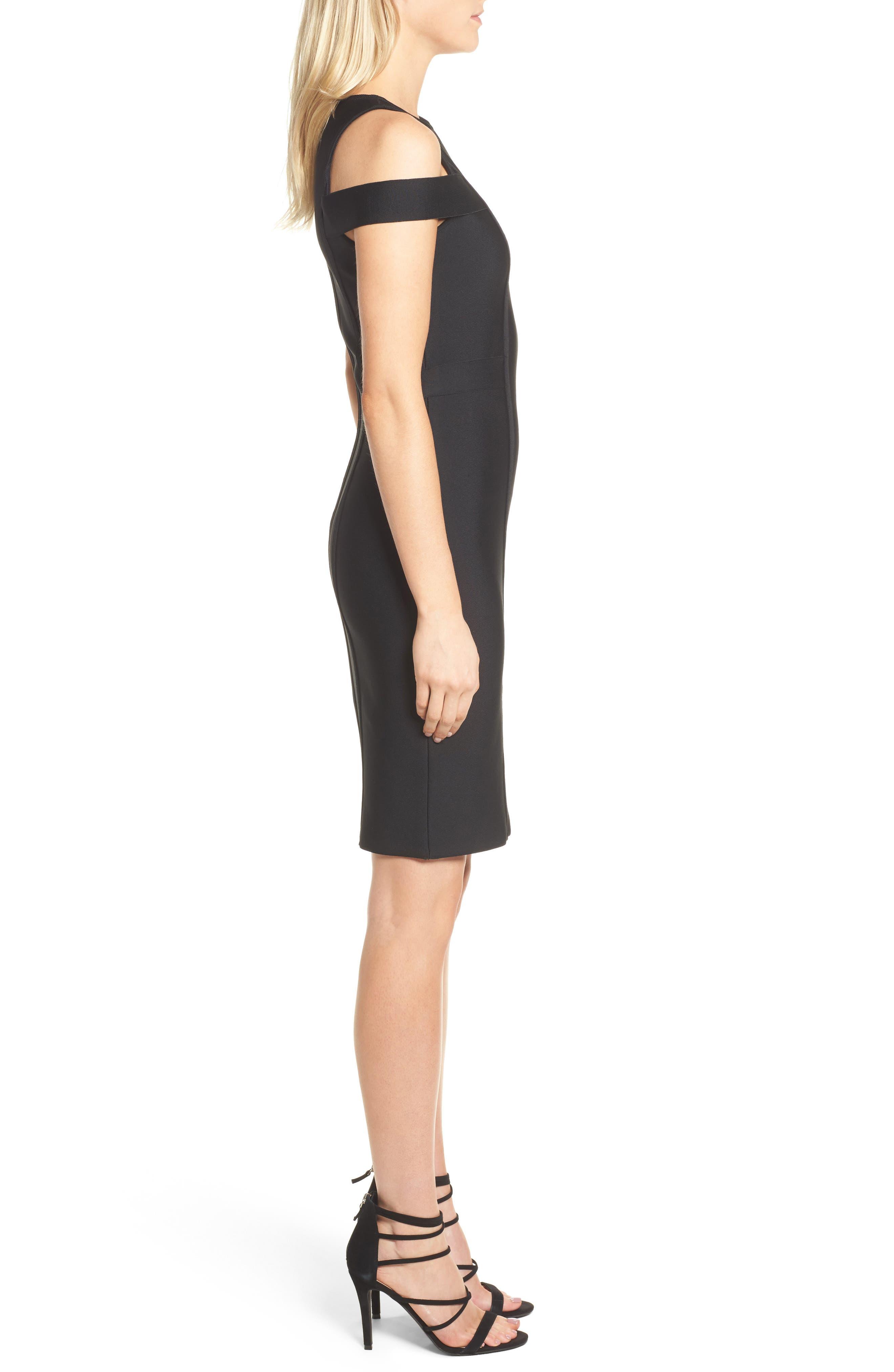 Cold Shoulder Body-Con Dress,                             Alternate thumbnail 3, color,                             BLACK