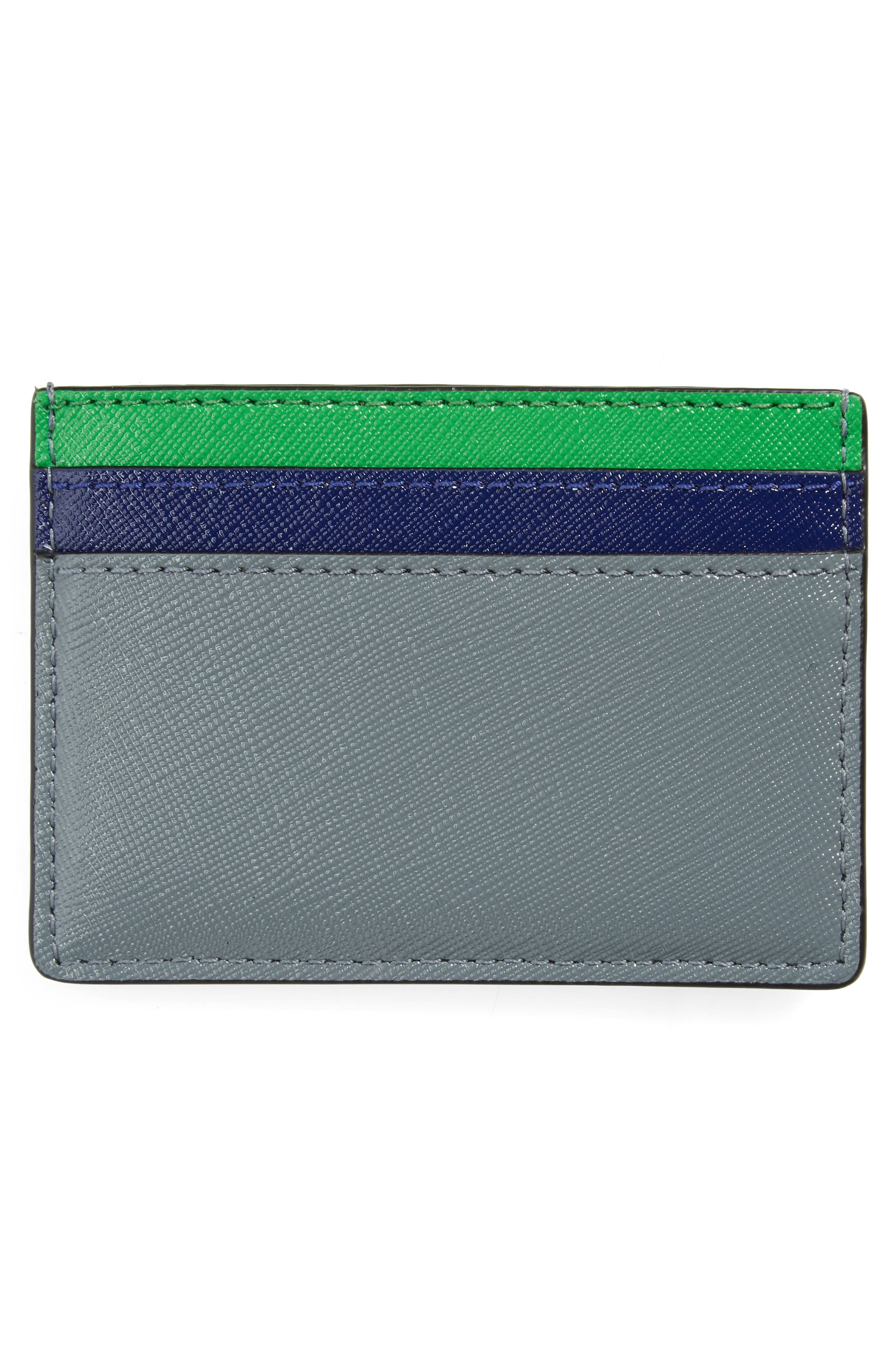 Snapshot Leather Card Case,                             Alternate thumbnail 2, color,                             SLATE MULTI