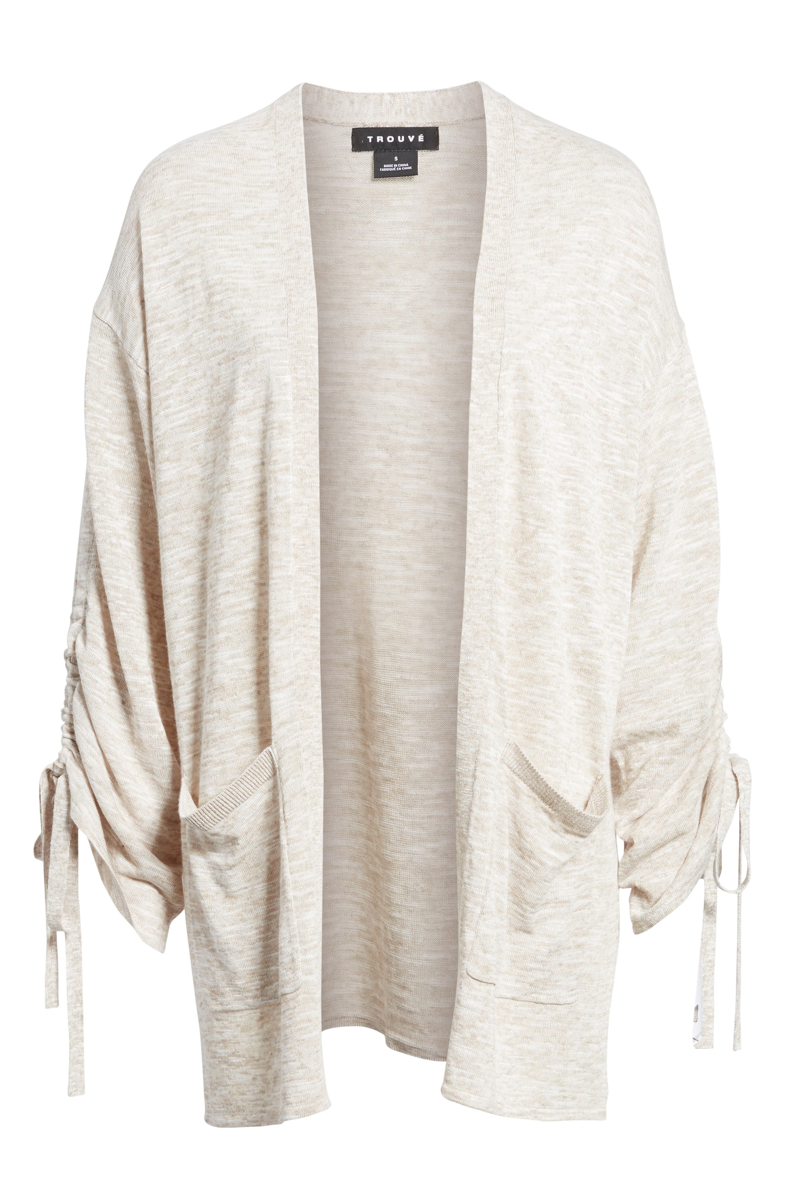 Ruched Sleeve Cardigan,                             Alternate thumbnail 6, color,                             250