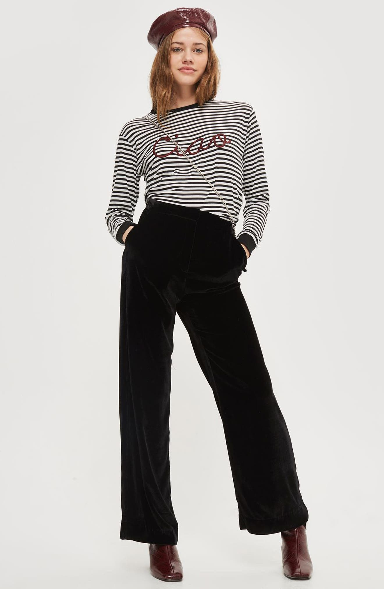 Embroidered Ciao Stripe Tee,                             Alternate thumbnail 4, color,                             001