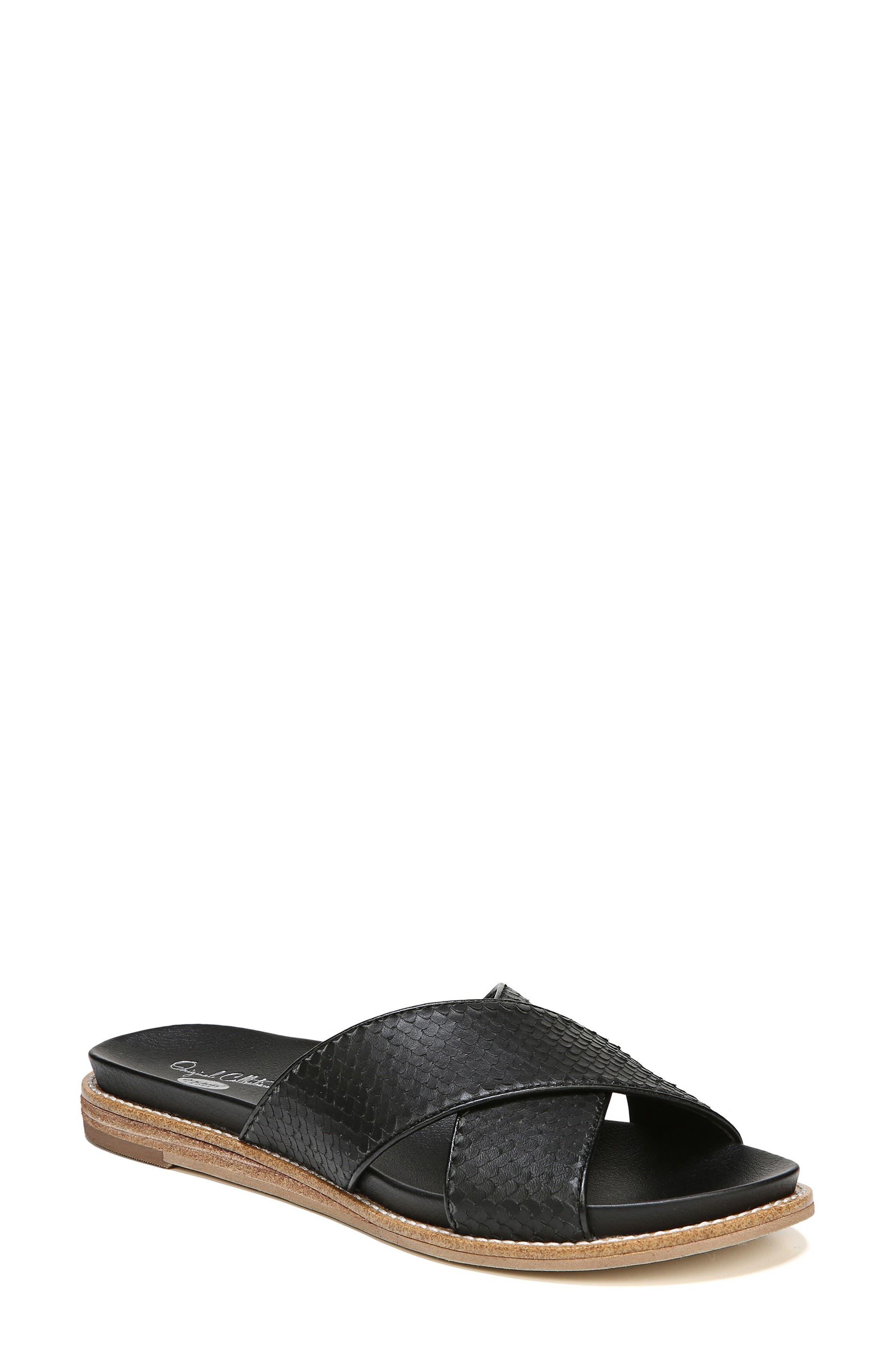 DR. SCHOLL'S Deco Slide Sandal, Main, color, BLACK LEATHER