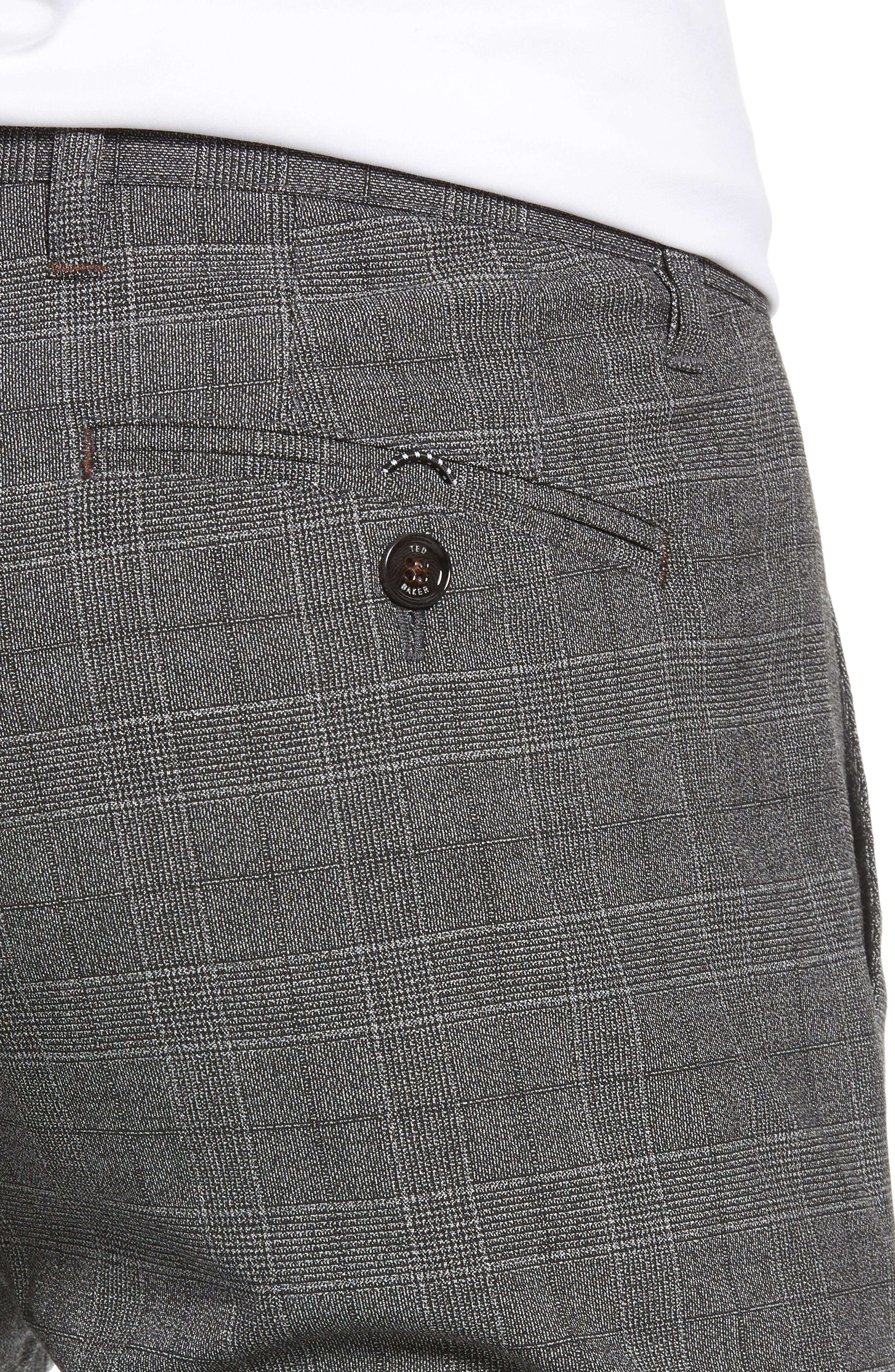 Squared Slim Fit Check Cropped Trousers,                             Alternate thumbnail 4, color,                             GREY