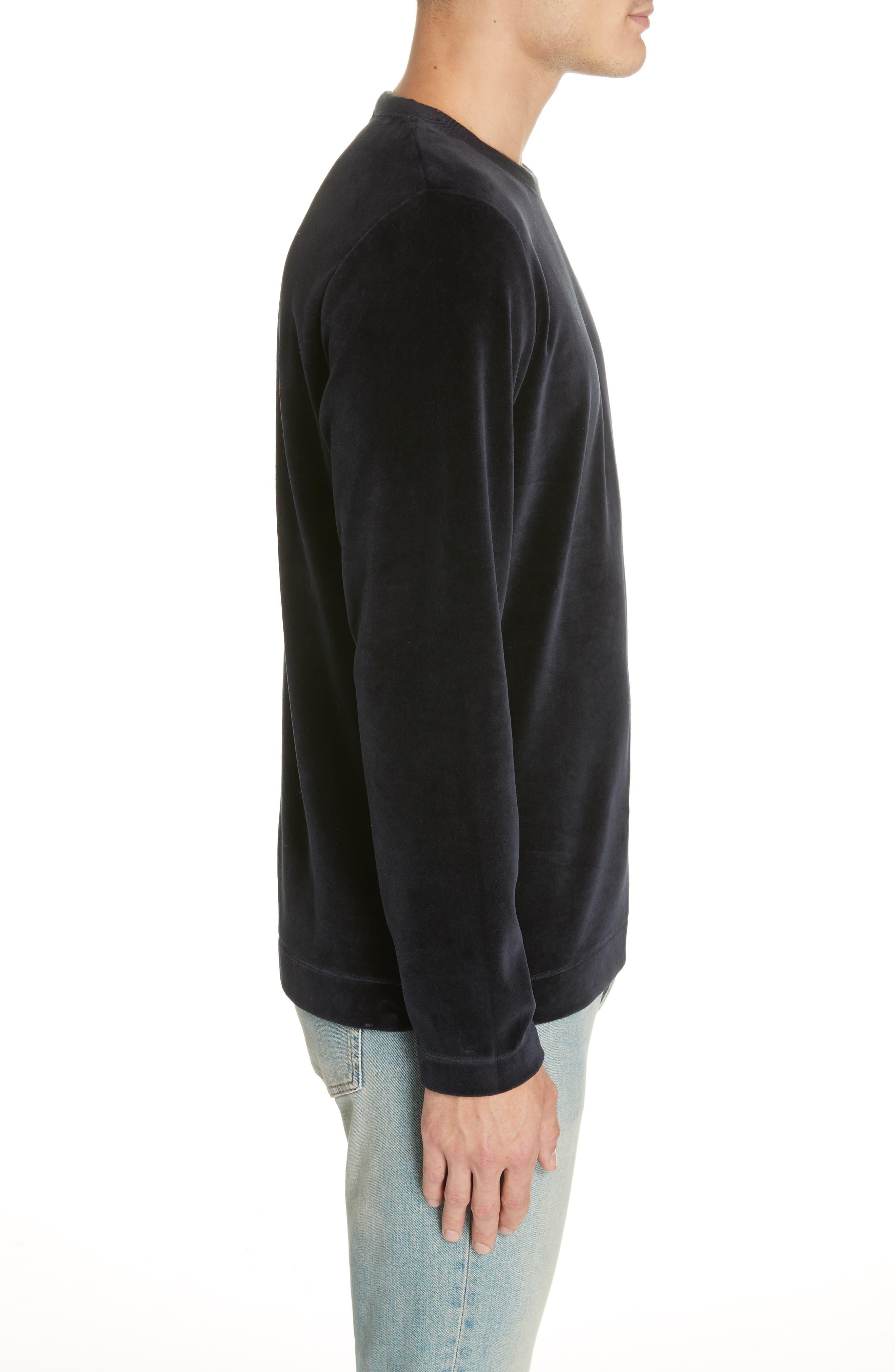 Velour Long Sleeve T-Shirt,                             Alternate thumbnail 3, color,                             NAVY VELOUR