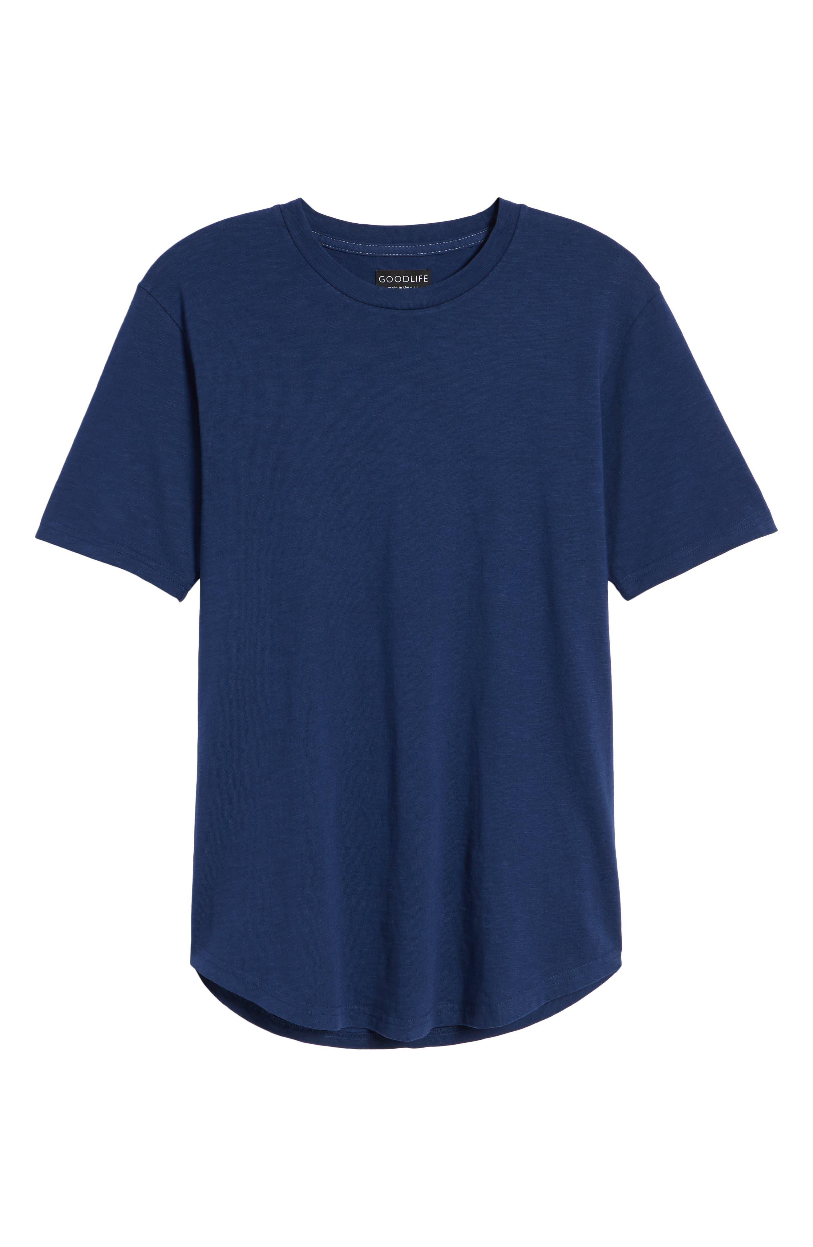 Scallop Hem Slub Crewneck T-Shirt,                             Alternate thumbnail 6, color,                             GOODLIFE NAVY