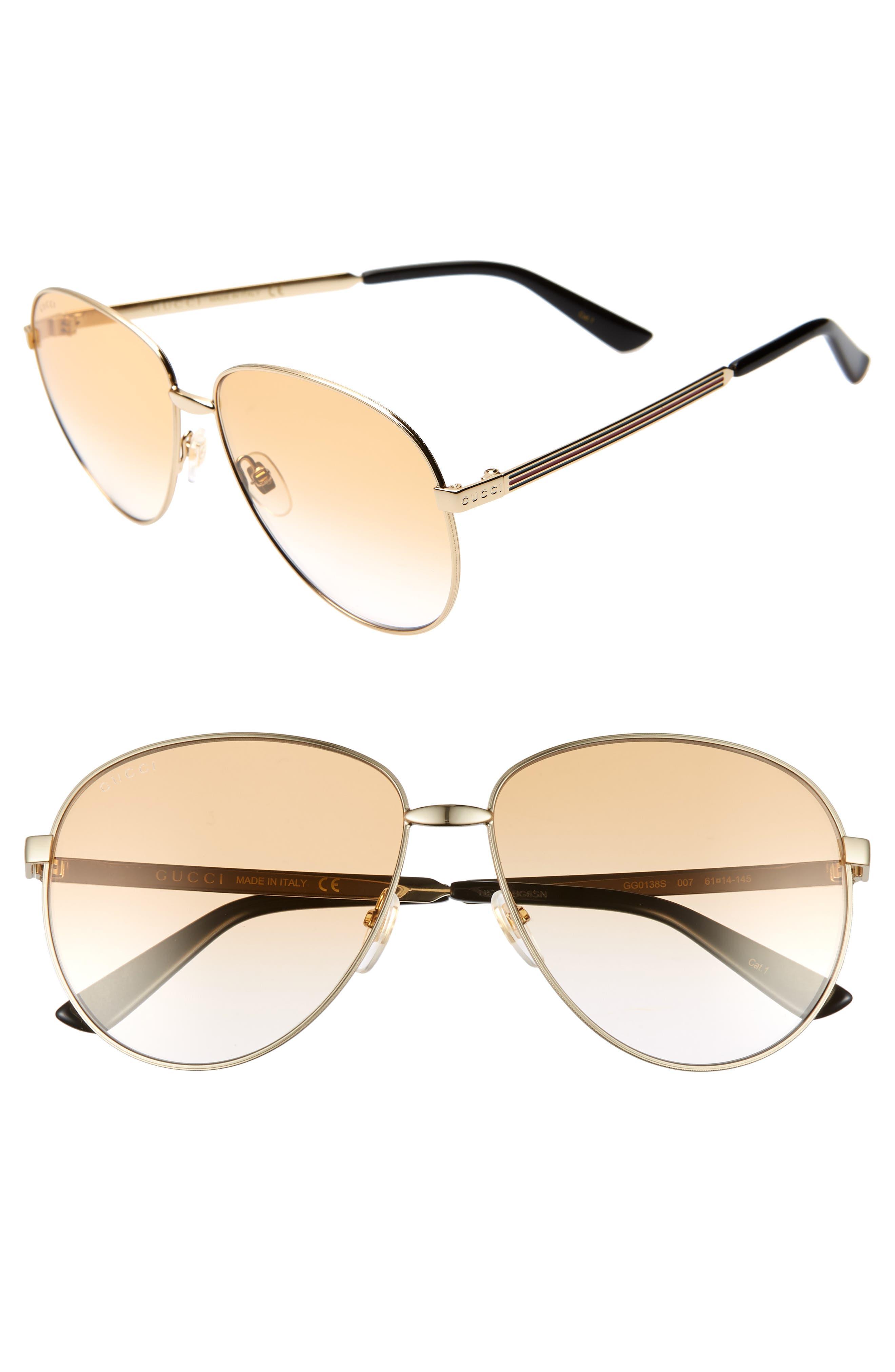 61mm Metal Aviator Sunglasses,                             Main thumbnail 1, color,                             GOLD/ BROWN GRADIENT