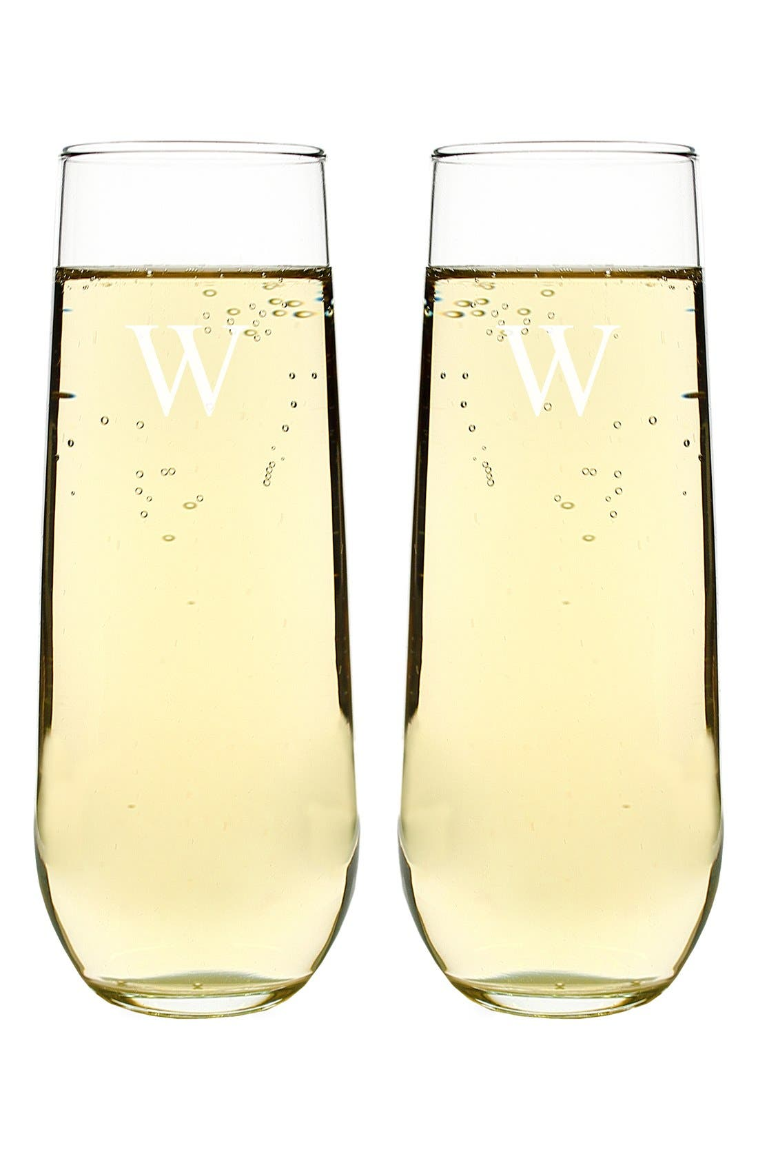 Personalized Stemless Champagne Flutes,                             Alternate thumbnail 2, color,                             100