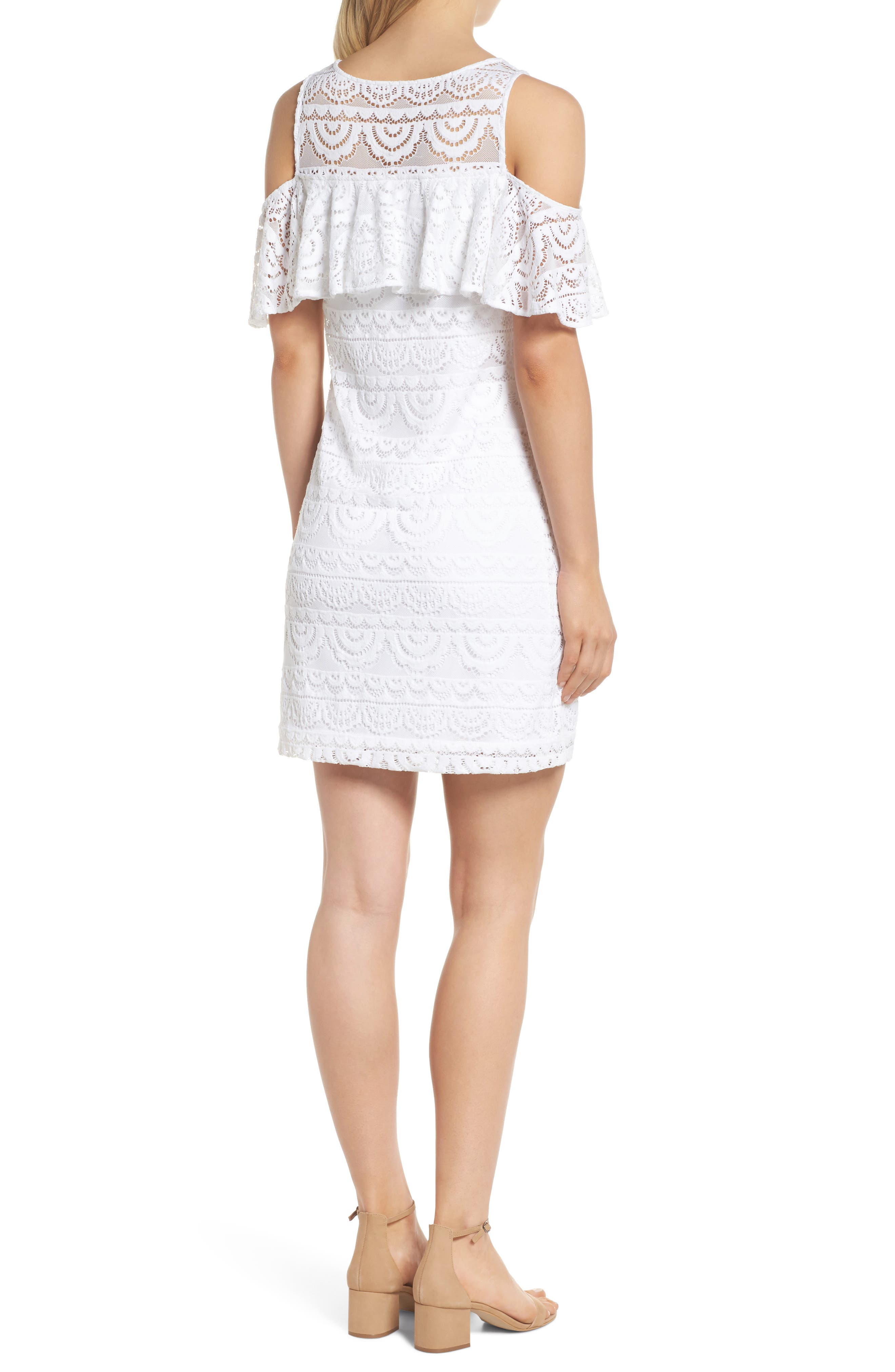 Lyra Cold Shoulder Lace Dress,                             Alternate thumbnail 2, color,                             RESORT WHITE SCALLOP LACE