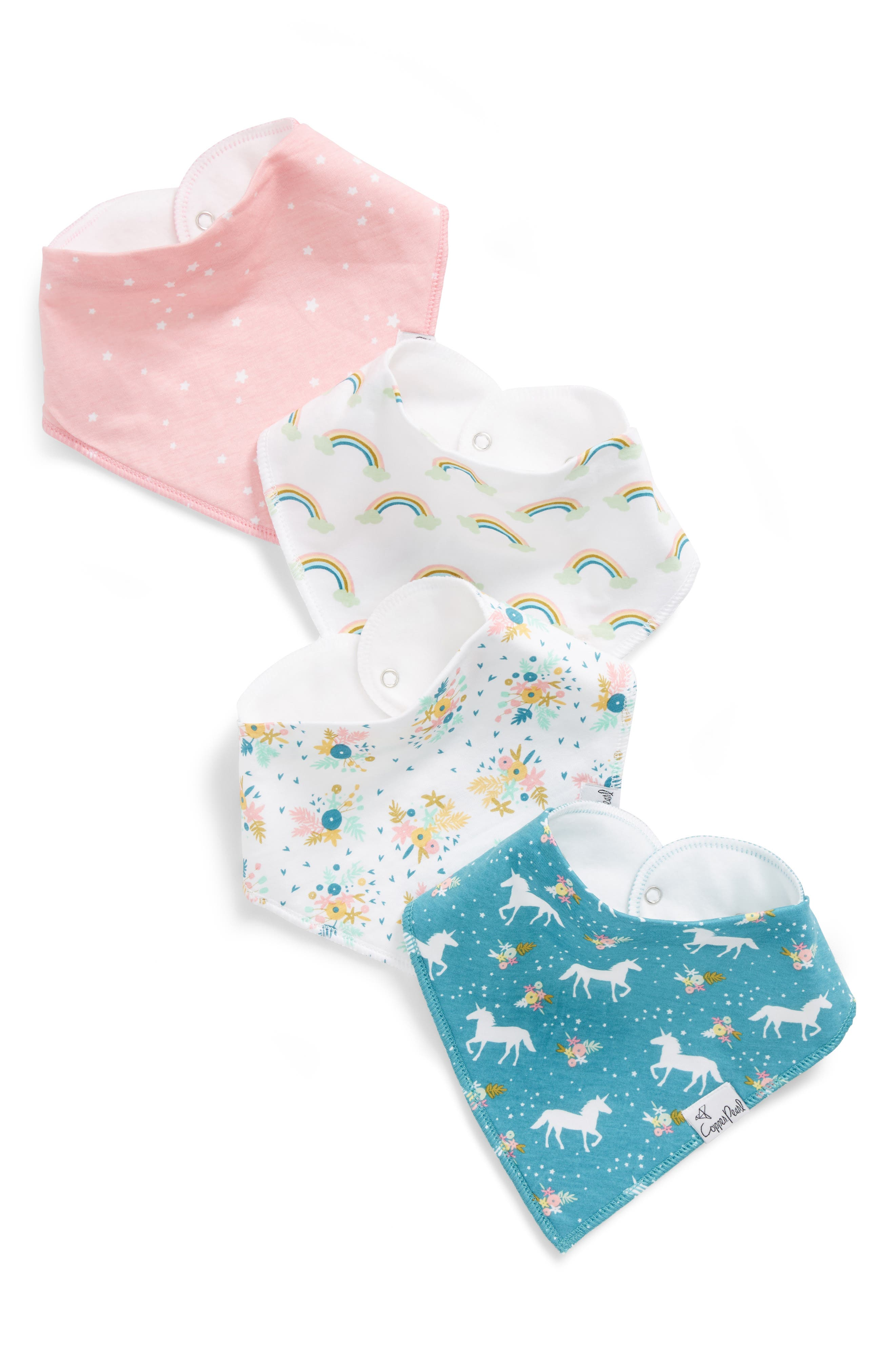 4-Pack Bandana Bibs,                         Main,                         color, WHIMSY