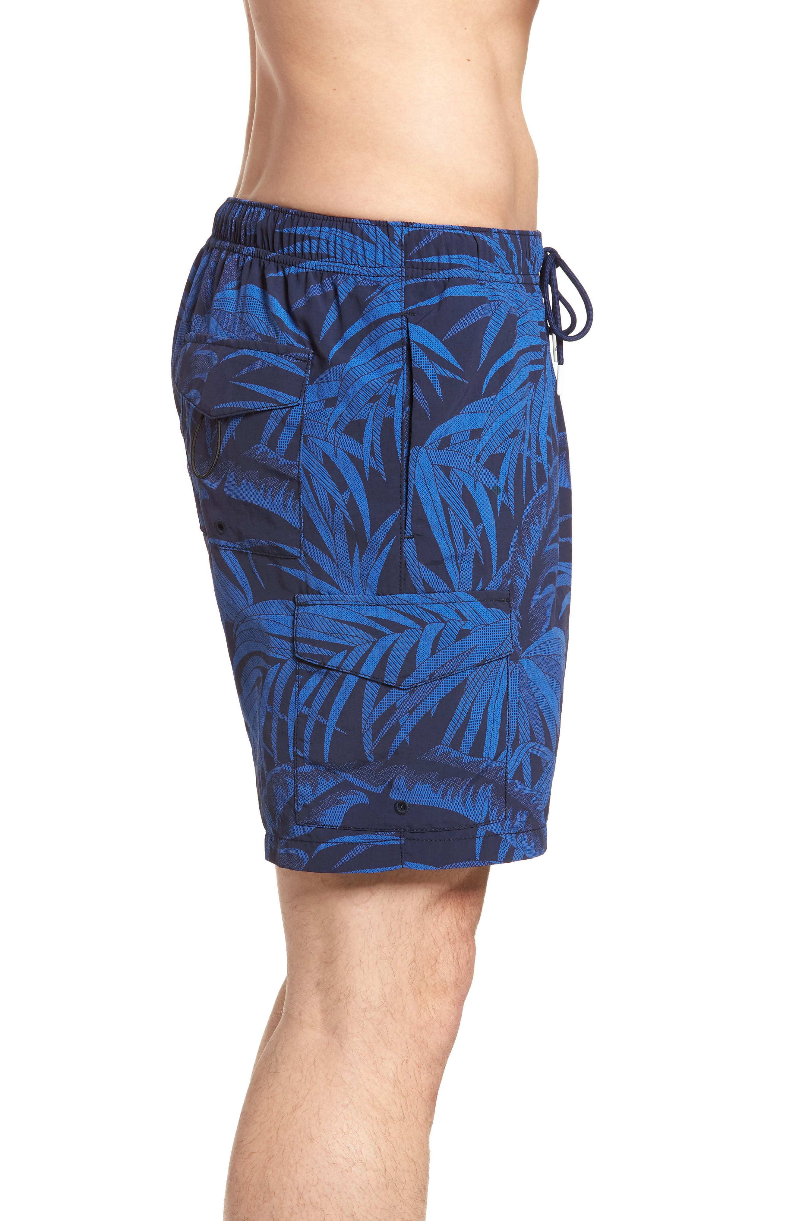 Naples Midnight Flora Swim Trunks,                             Alternate thumbnail 3, color,                             400