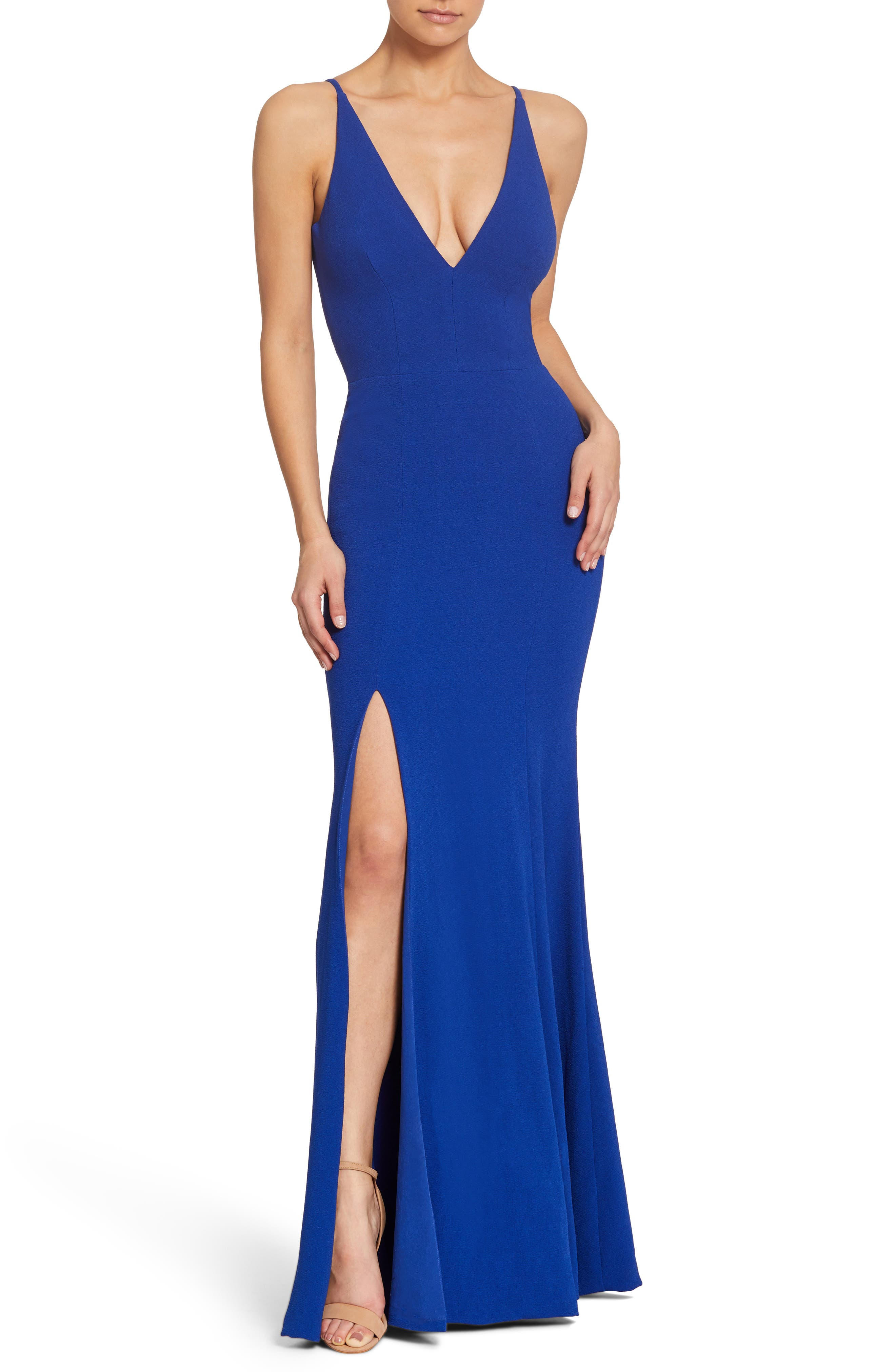 Dress The Population Iris Slit Crepe Gown, Blue
