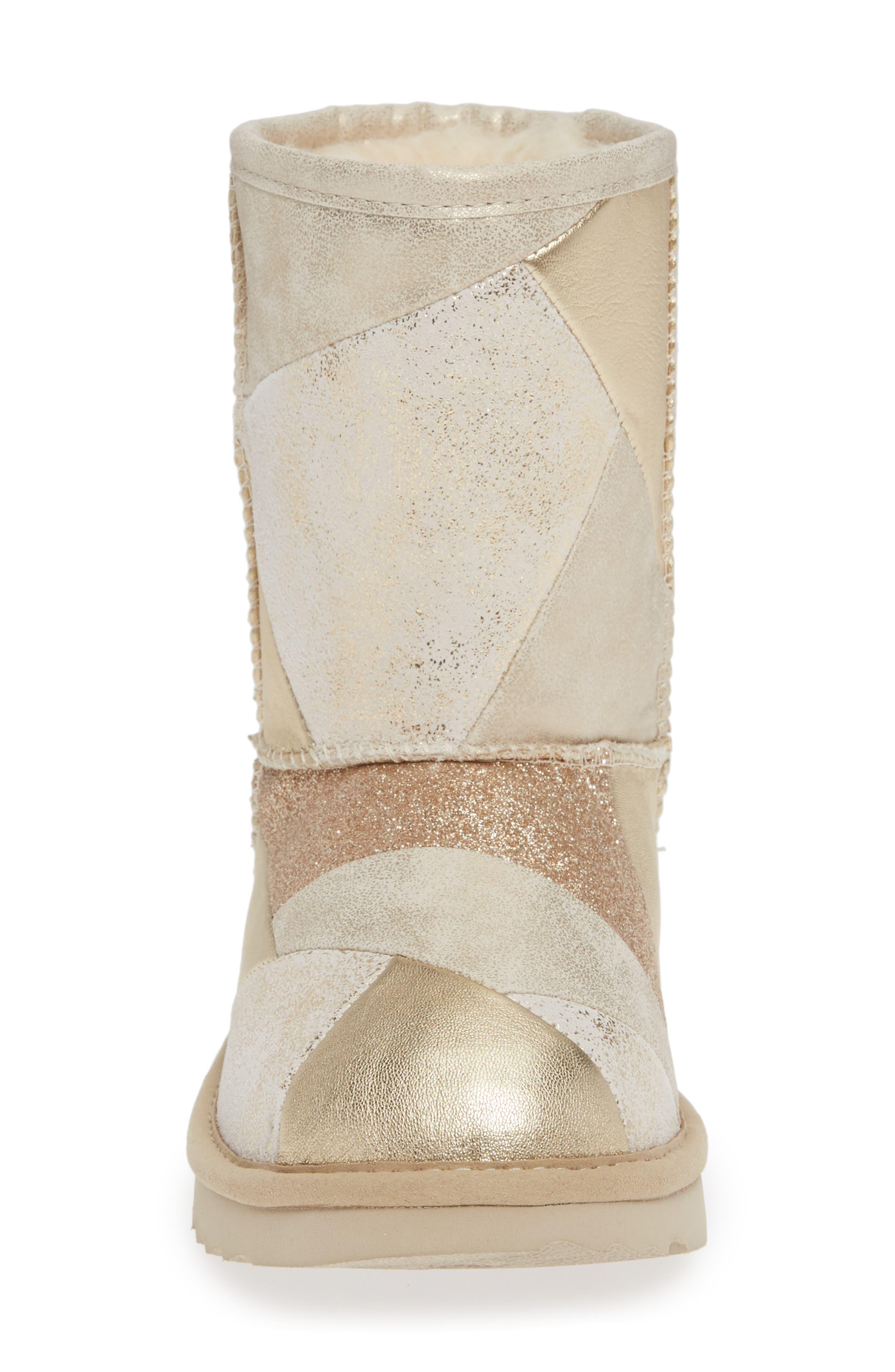 Classic Short II Metallic Patchwork Boot,                             Alternate thumbnail 4, color,                             GOLD