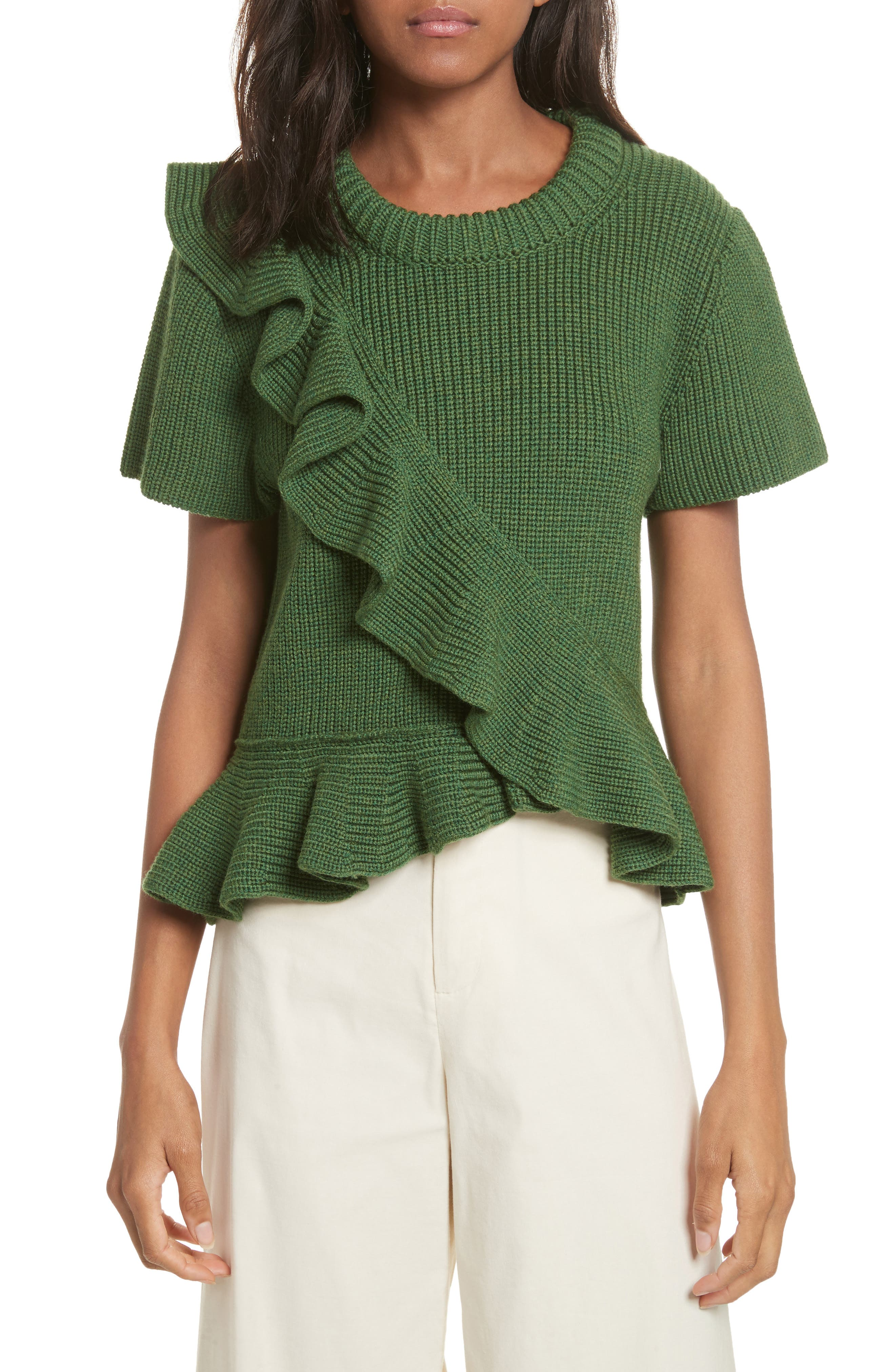 Ruffle Wool Sweater,                             Main thumbnail 1, color,                             300
