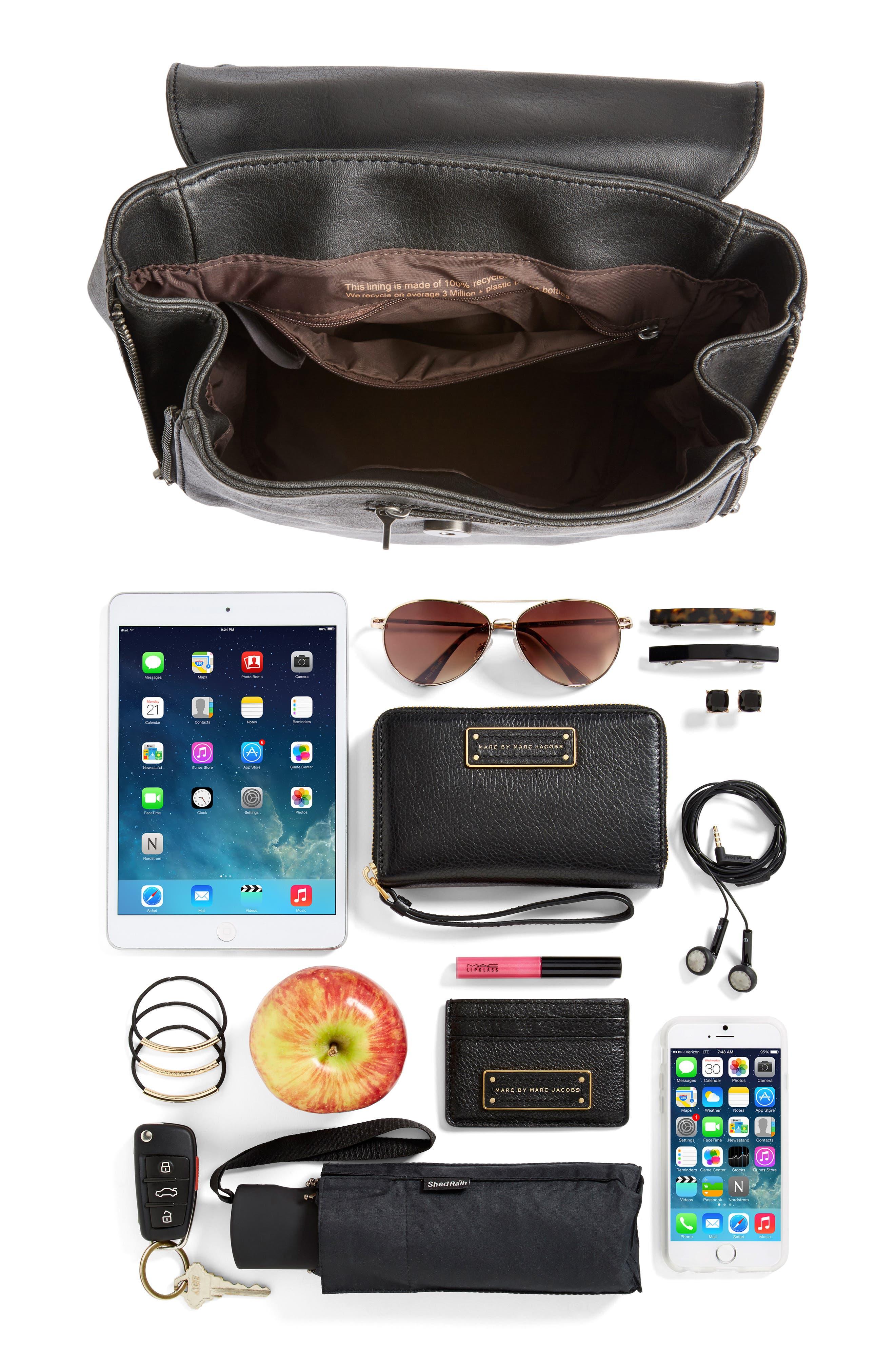 Mini Fabi Faux Leather Backpack,                             Alternate thumbnail 7, color,                             BLACK