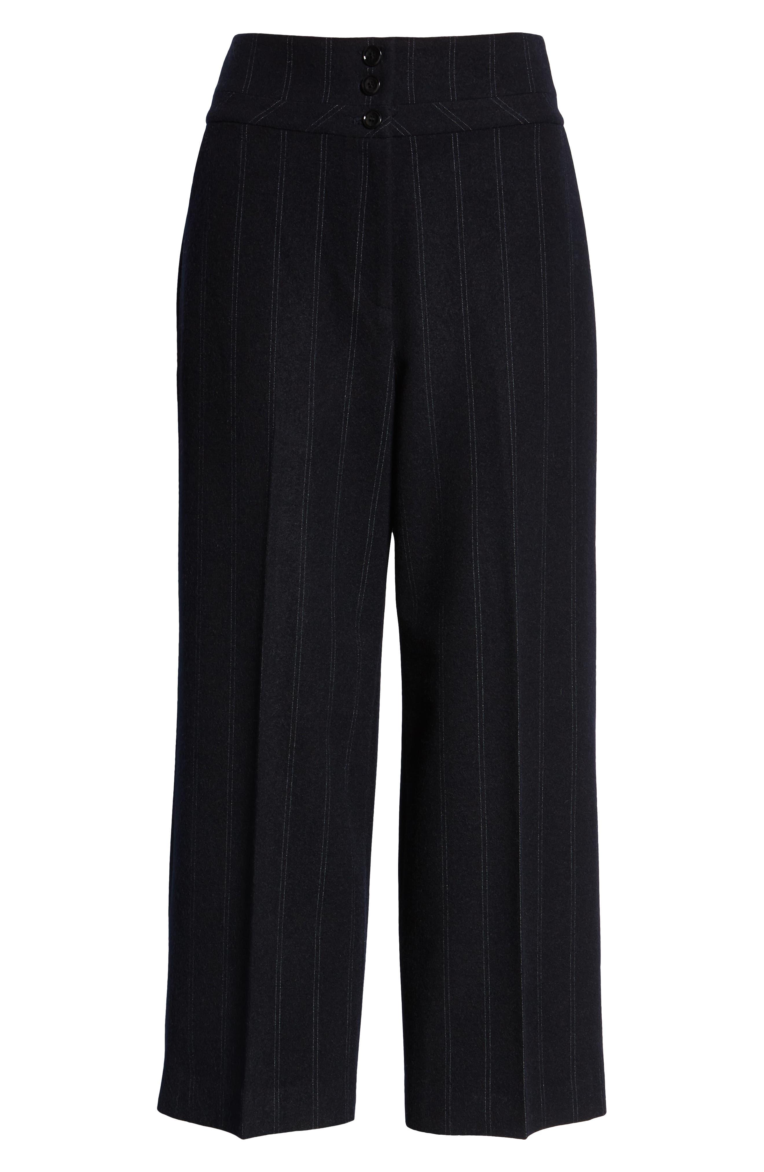 Stripe Wide Leg Crop Suit Pants,                             Alternate thumbnail 7, color,                             410