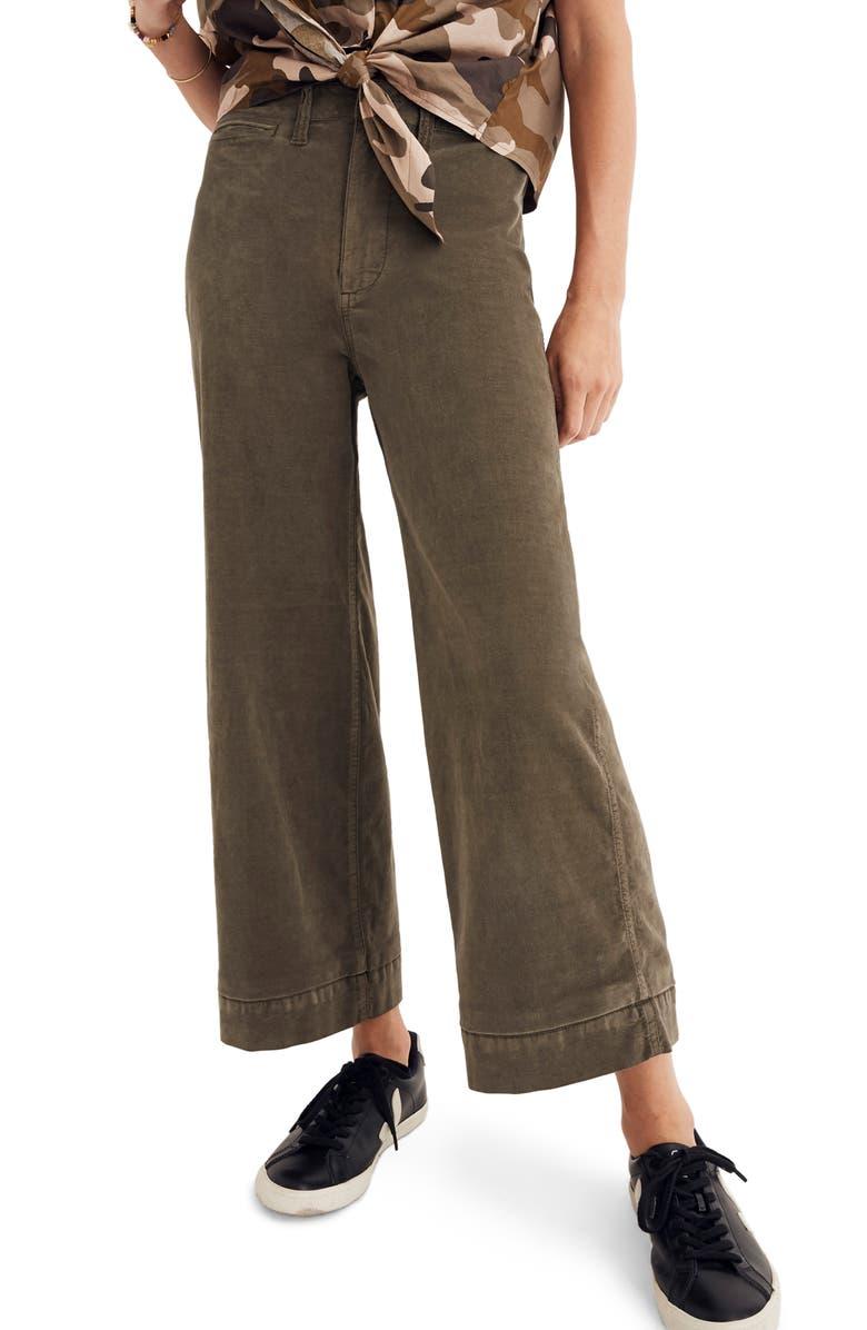 7d0b5a02d87 Madewell Emmett Crop Wide Leg Velveteen Pants In Kale