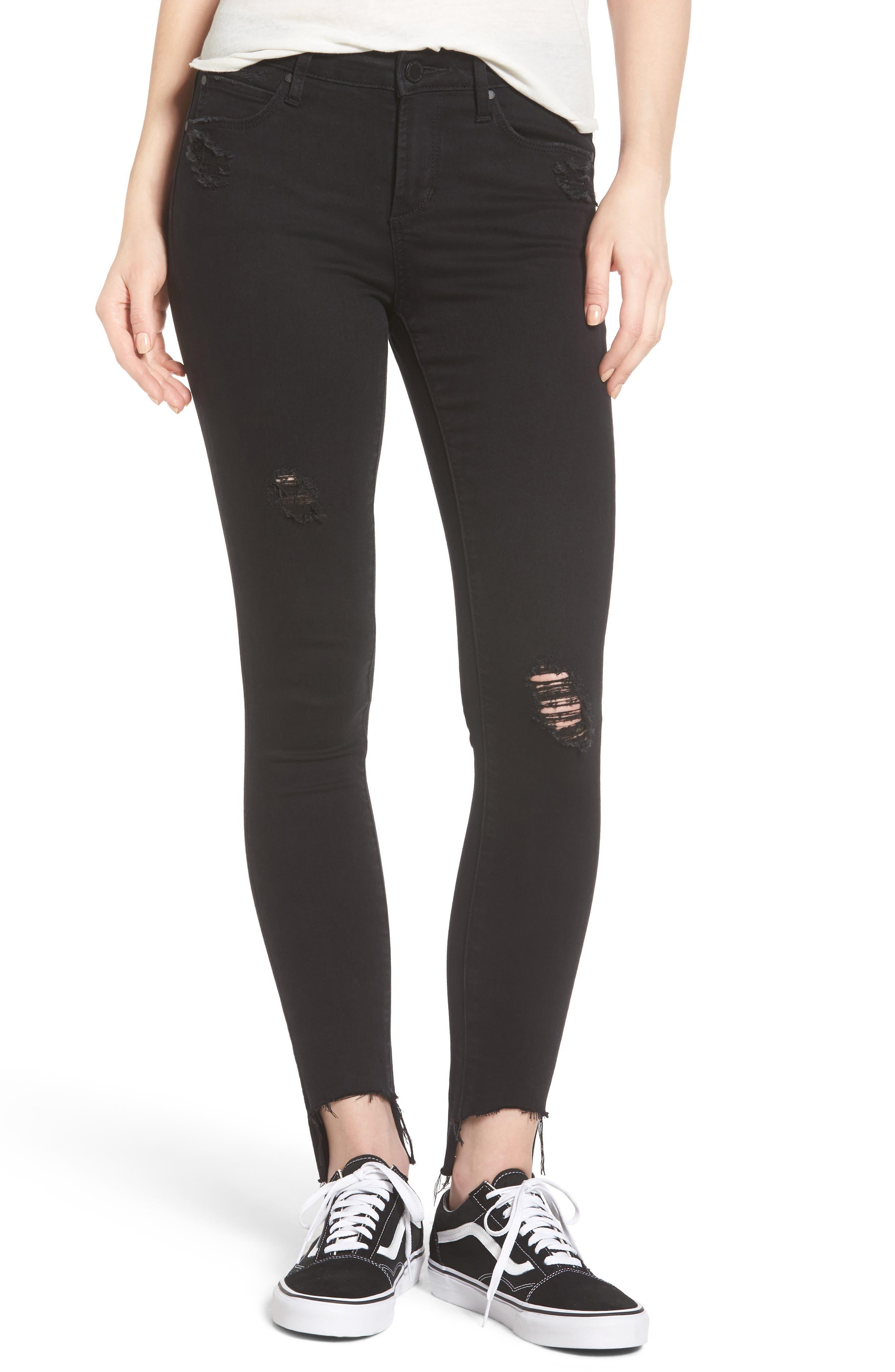 Stephanie Step Hem Skinny Jeans,                             Main thumbnail 1, color,