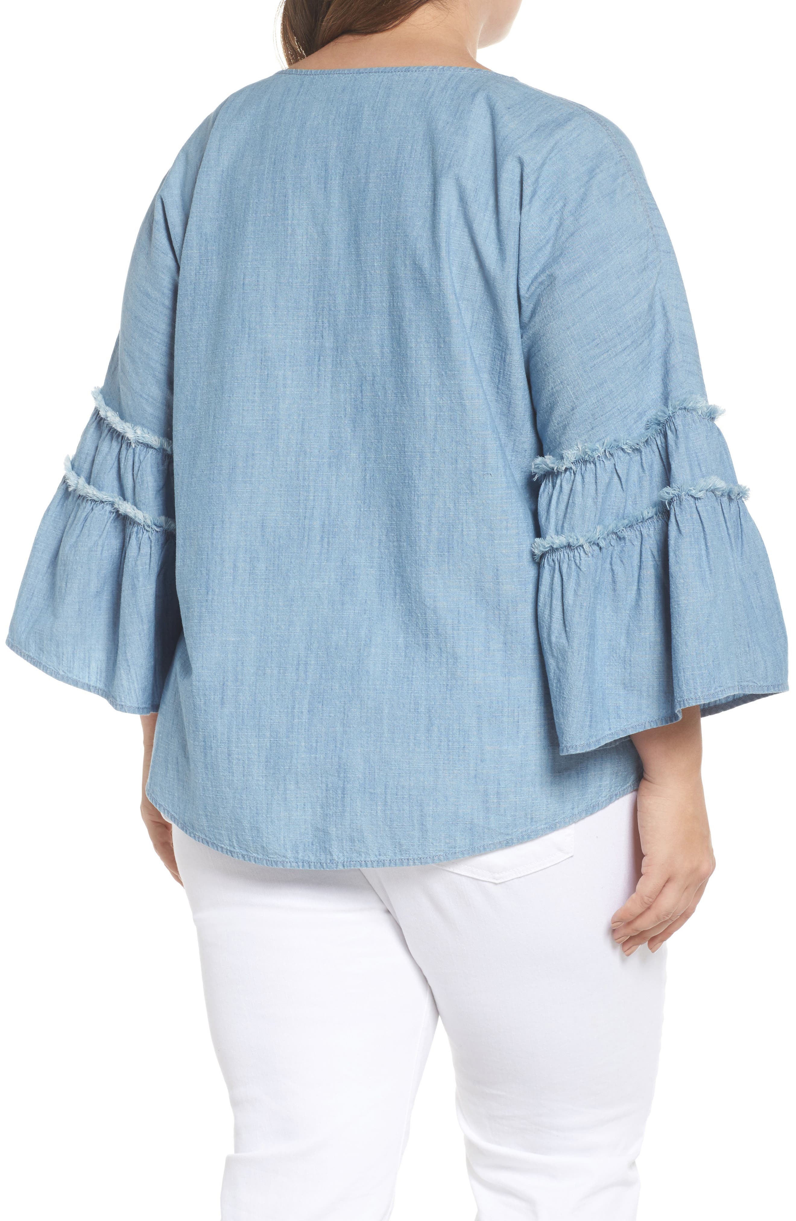 Ruffle Sleeve Chambray Blouse,                             Alternate thumbnail 2, color,                             ICE LAGOON
