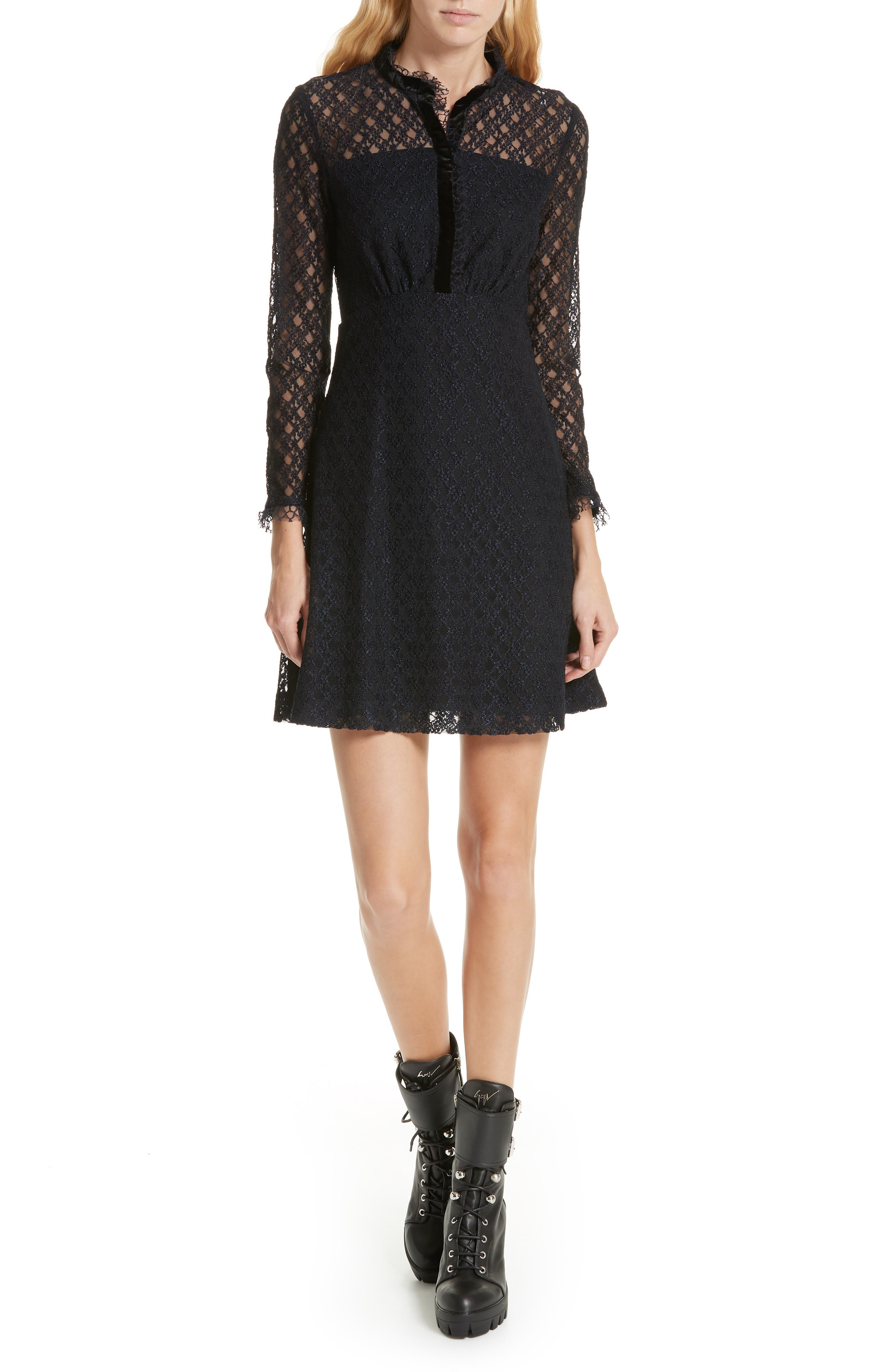 Lace Overlay Mini Dress,                             Main thumbnail 1, color,                             405