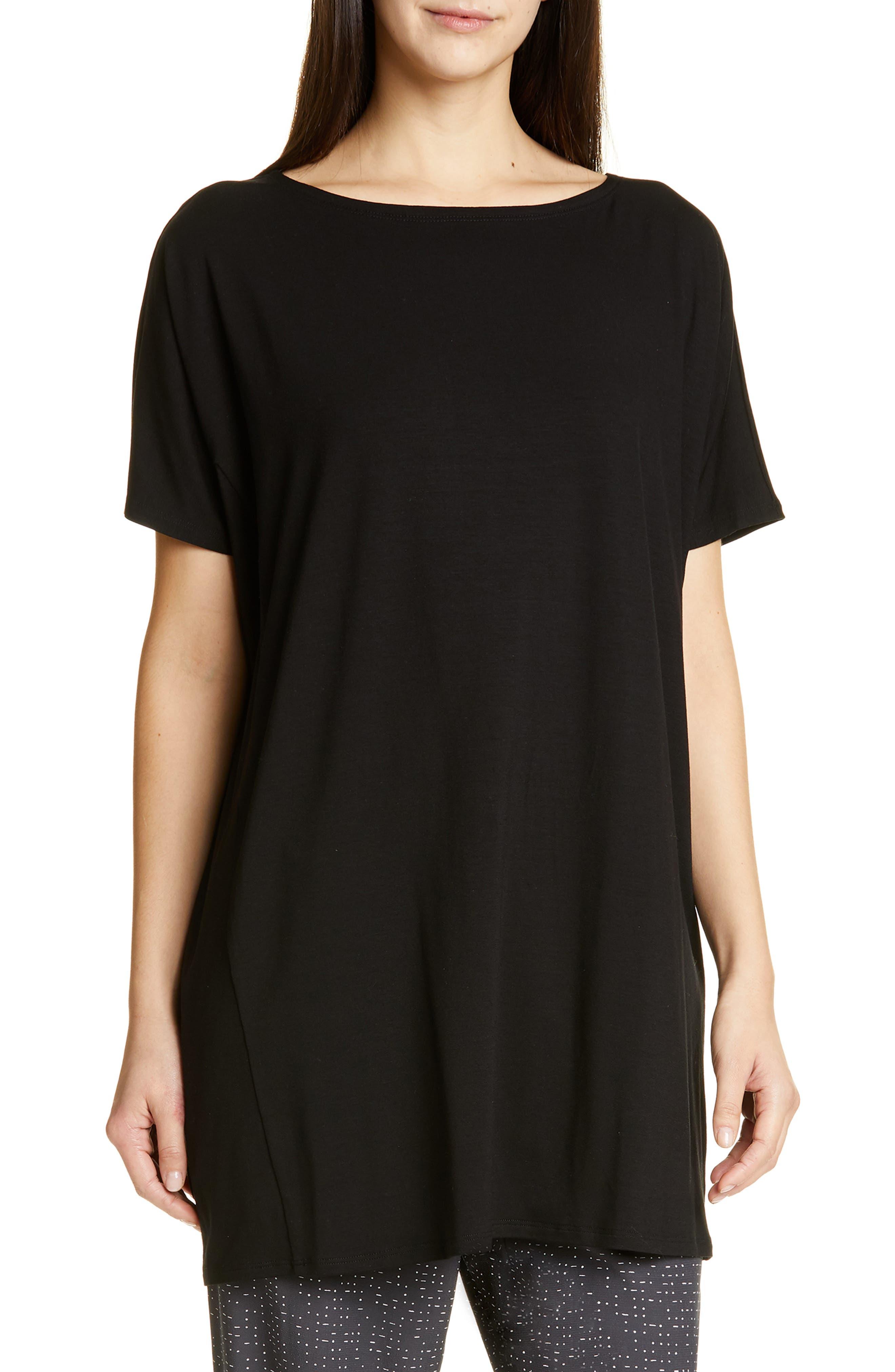Eileen Fisher Stretch Tencel Lyocell Knit Tunic, Black