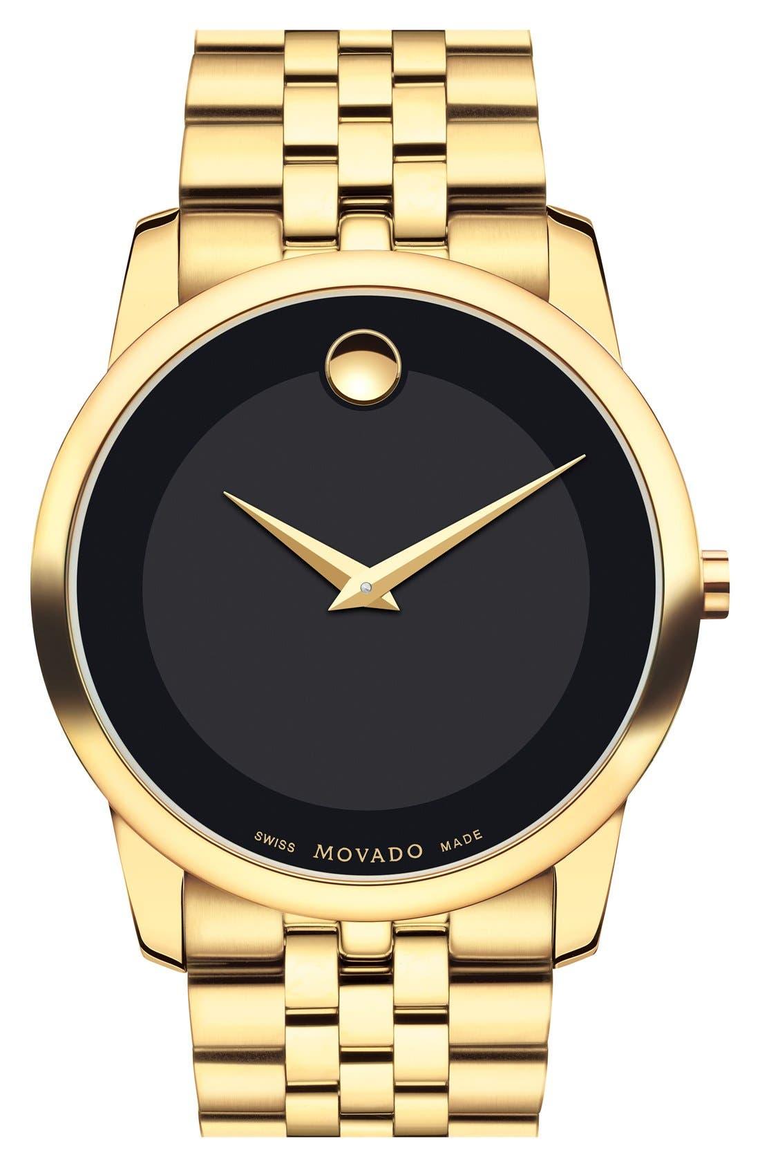 'Museum' Bracelet Watch, 40mm,                             Main thumbnail 1, color,                             GOLD/ BLACK