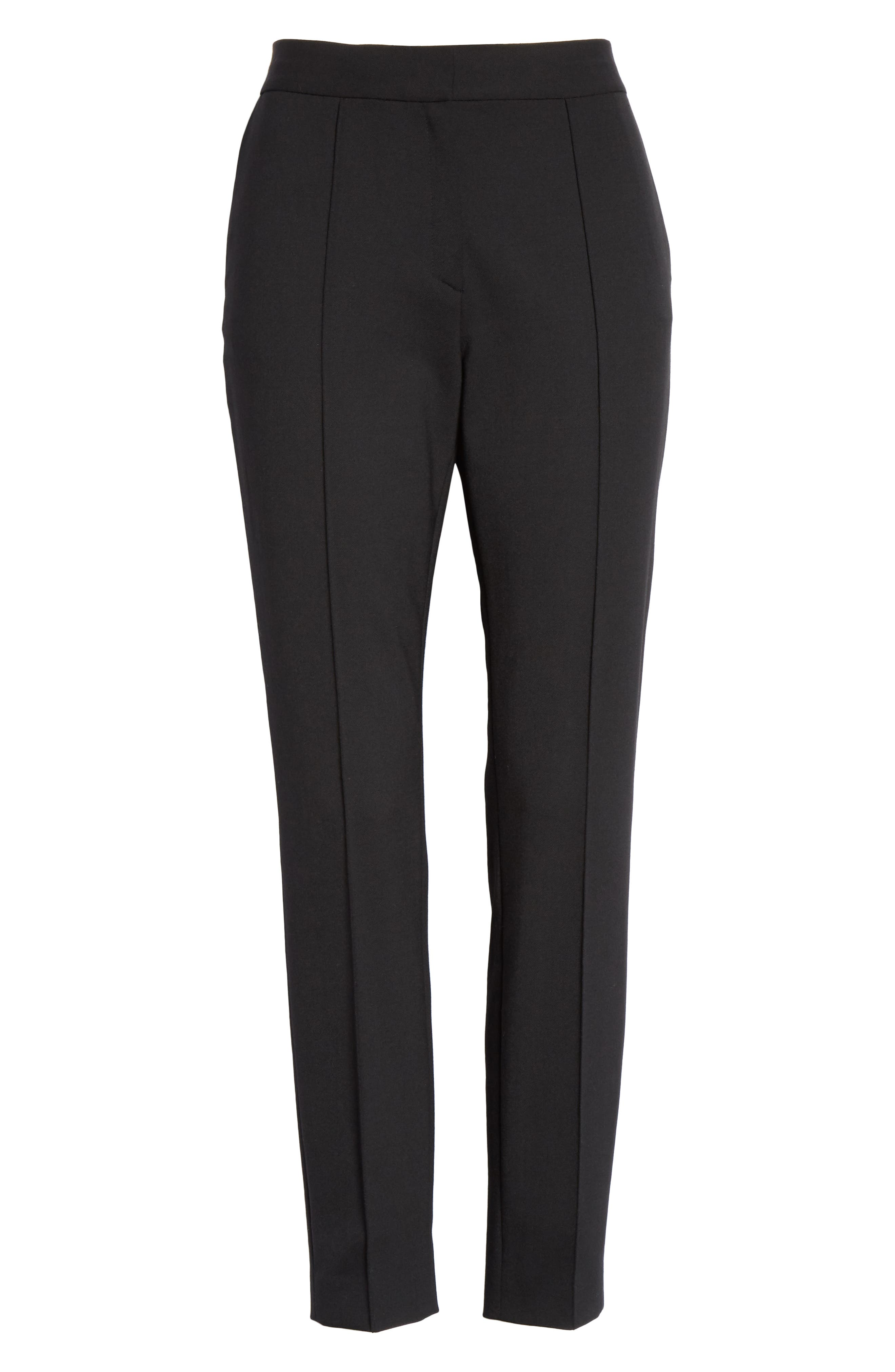 Pintucked Stretch Wool Blend Slim Trousers,                             Alternate thumbnail 6, color,                             BLACK