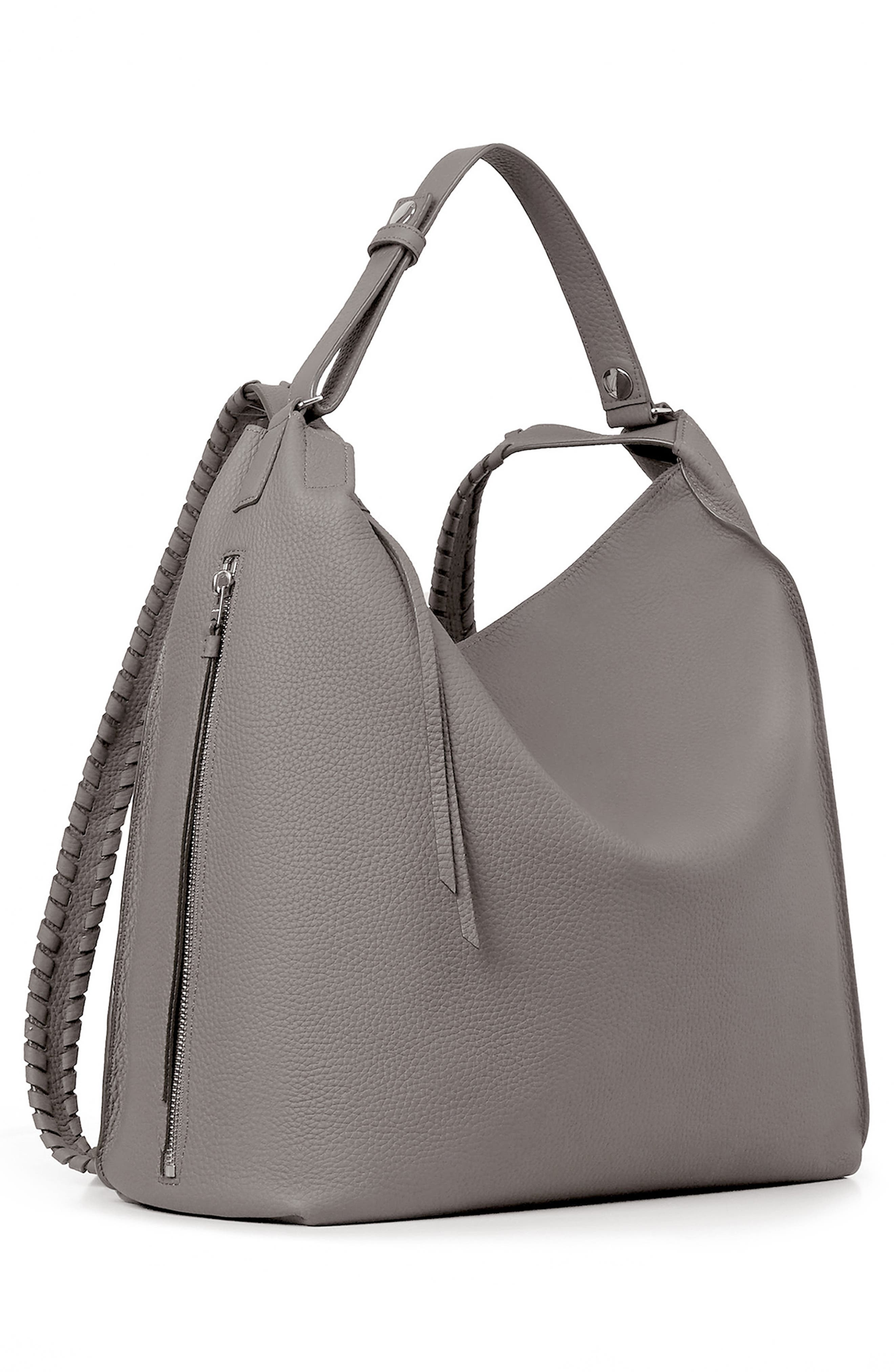 Kita Convertible Leather Backpack,                             Alternate thumbnail 3, color,                             STORM GREY