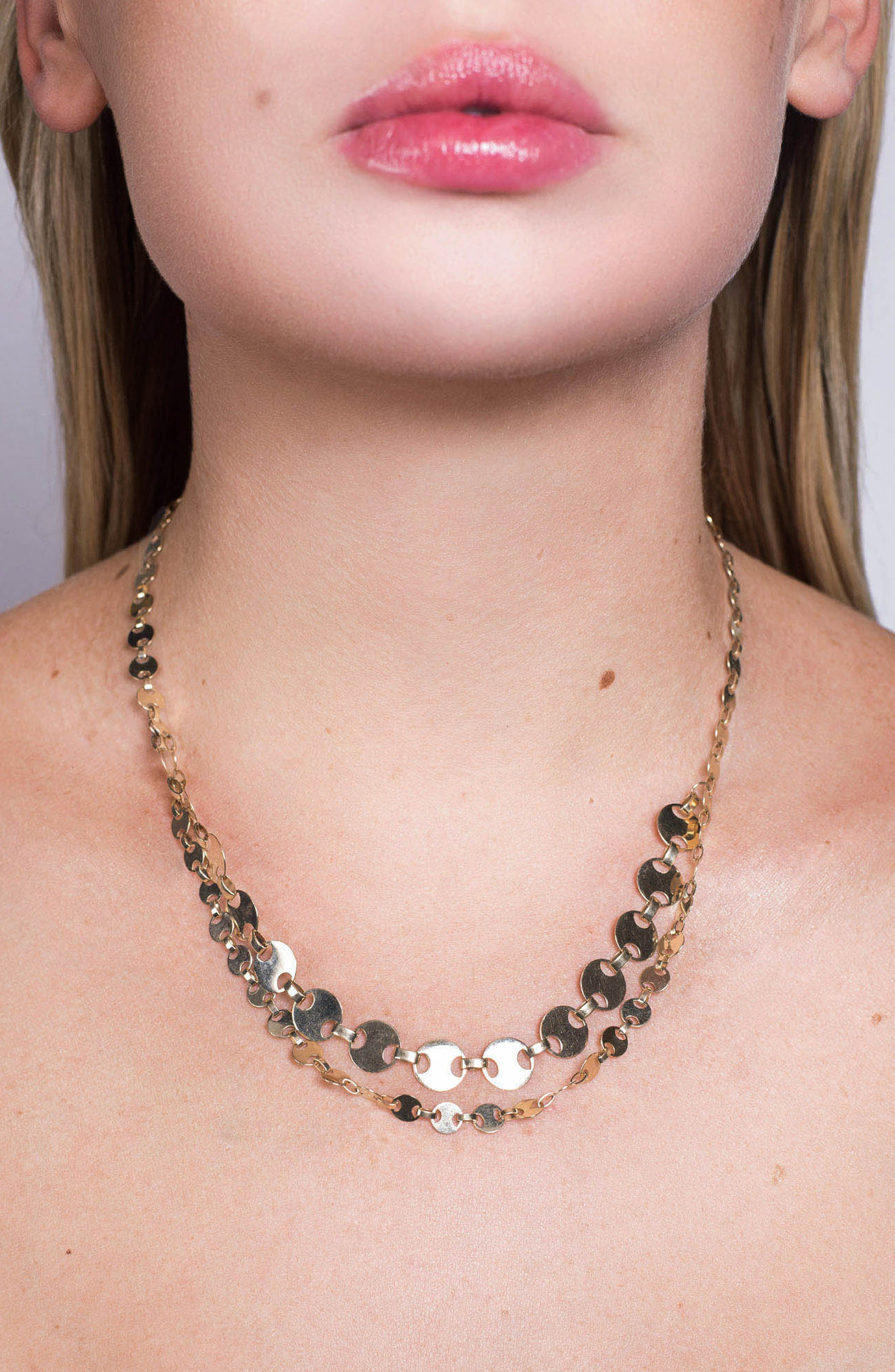 Two-Row Flat Man Chain Necklace,                             Alternate thumbnail 2, color,                             GOLD