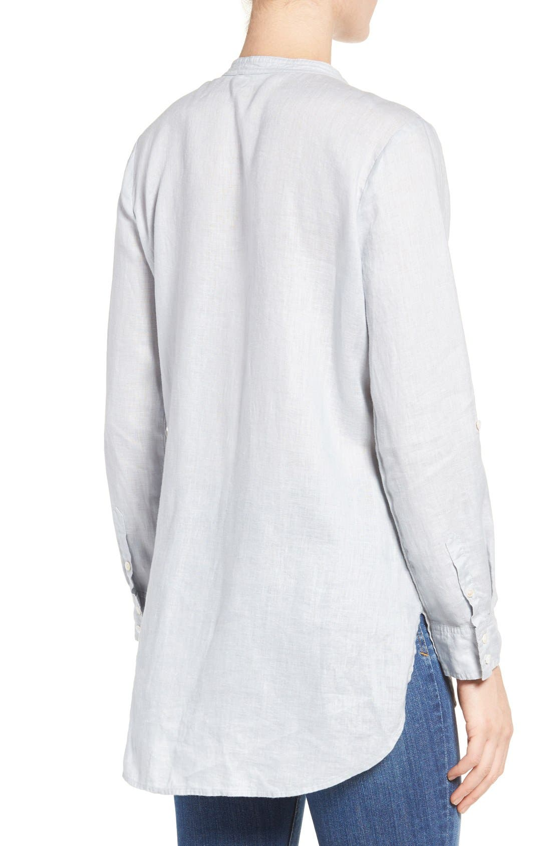 Two by Vince Camuto Collarless Linen Shirt,                             Main thumbnail 1, color,                             026