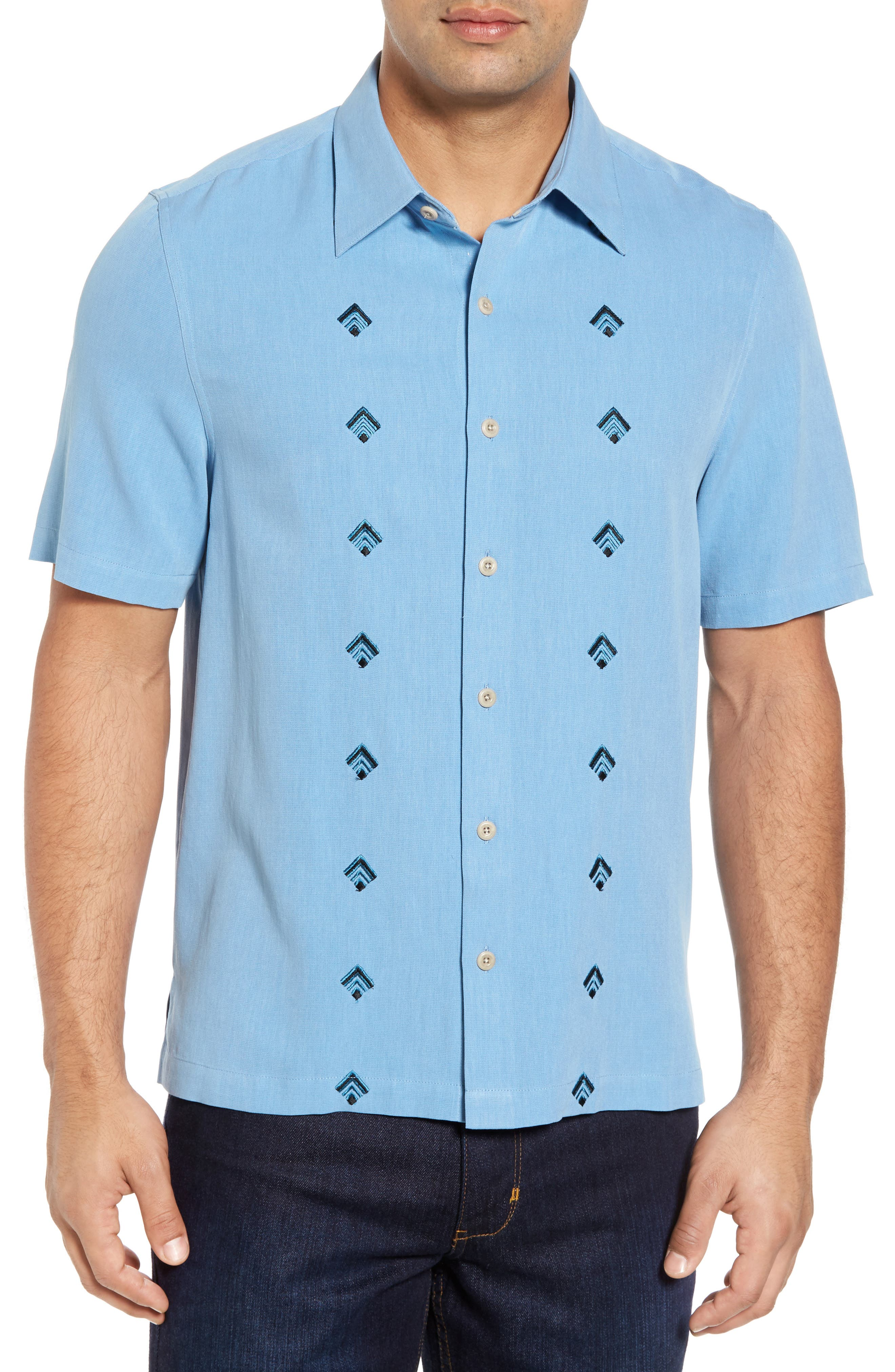 Nordic Embroidered Silk Blend Sport Shirt,                             Main thumbnail 2, color,