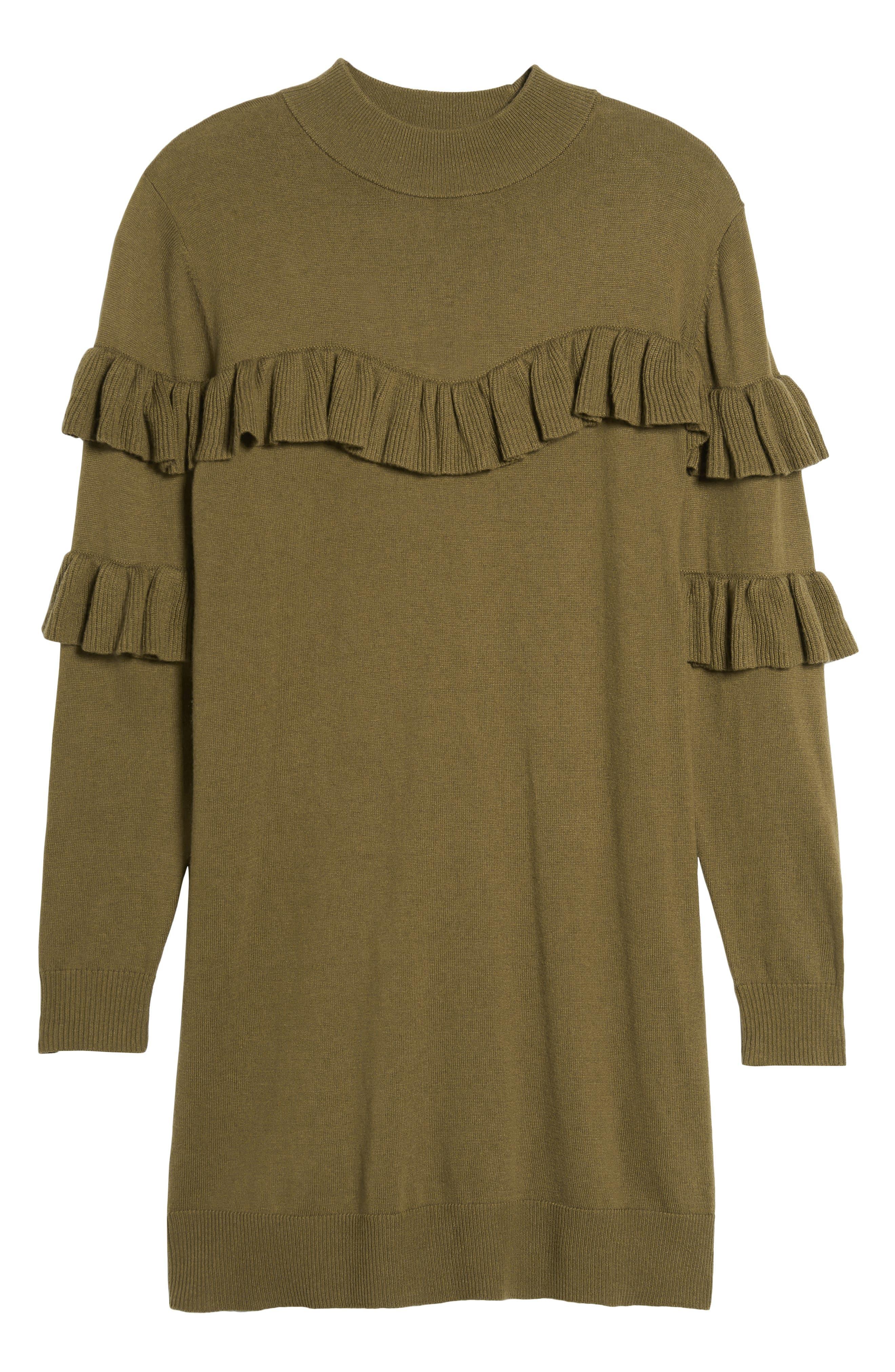 Ruffle Sweater Dress,                             Alternate thumbnail 7, color,