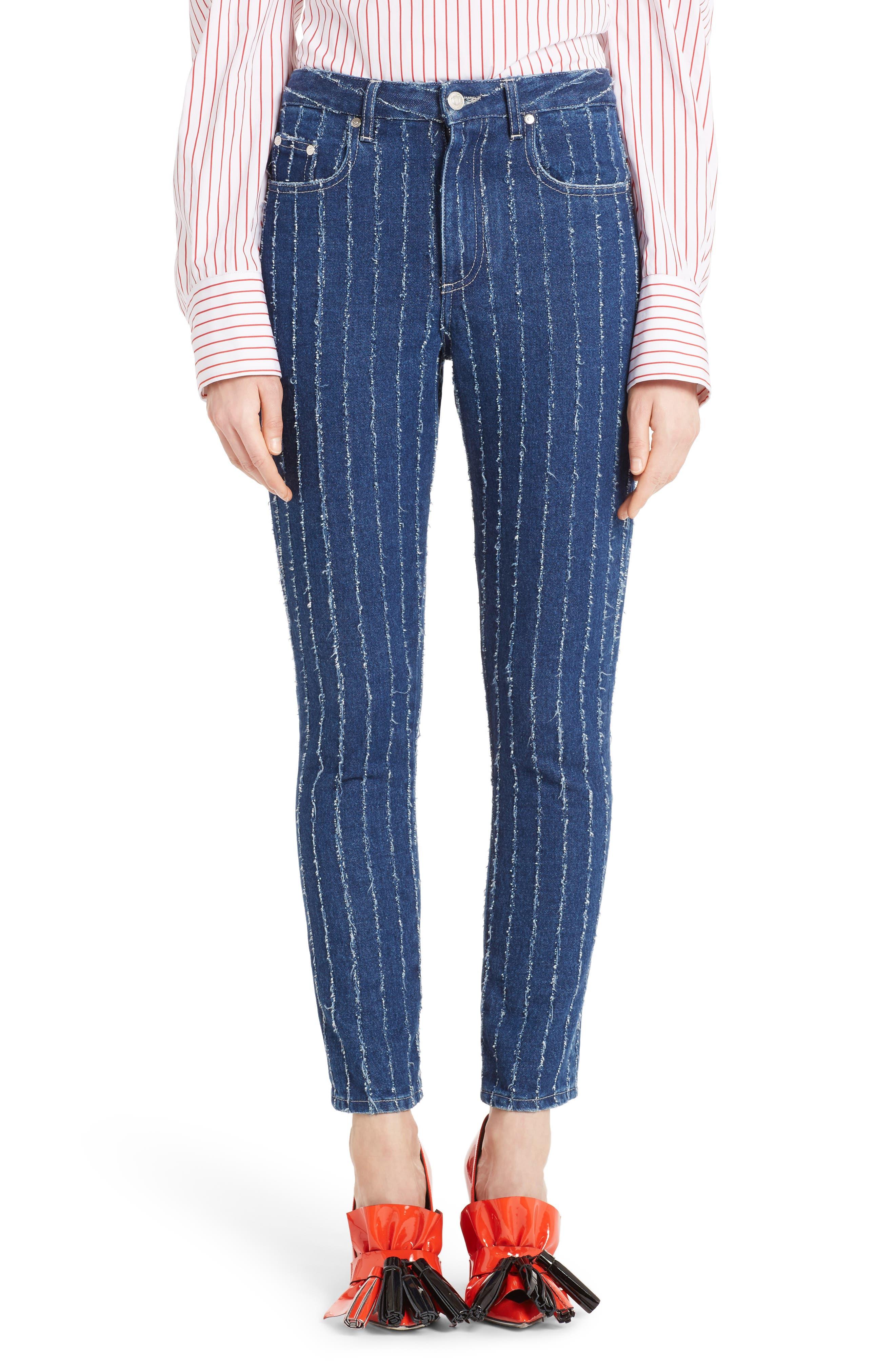 Stripe High Waist Jeans,                             Main thumbnail 1, color,                             400