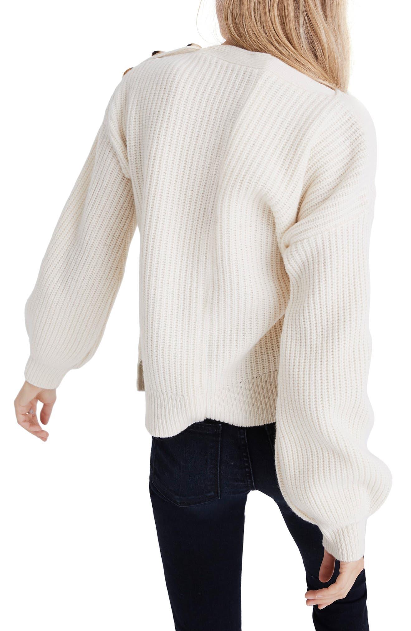 Boat Neck Button Shoulder Sweater,                             Alternate thumbnail 2, color,                             ANTIQUE CREAM