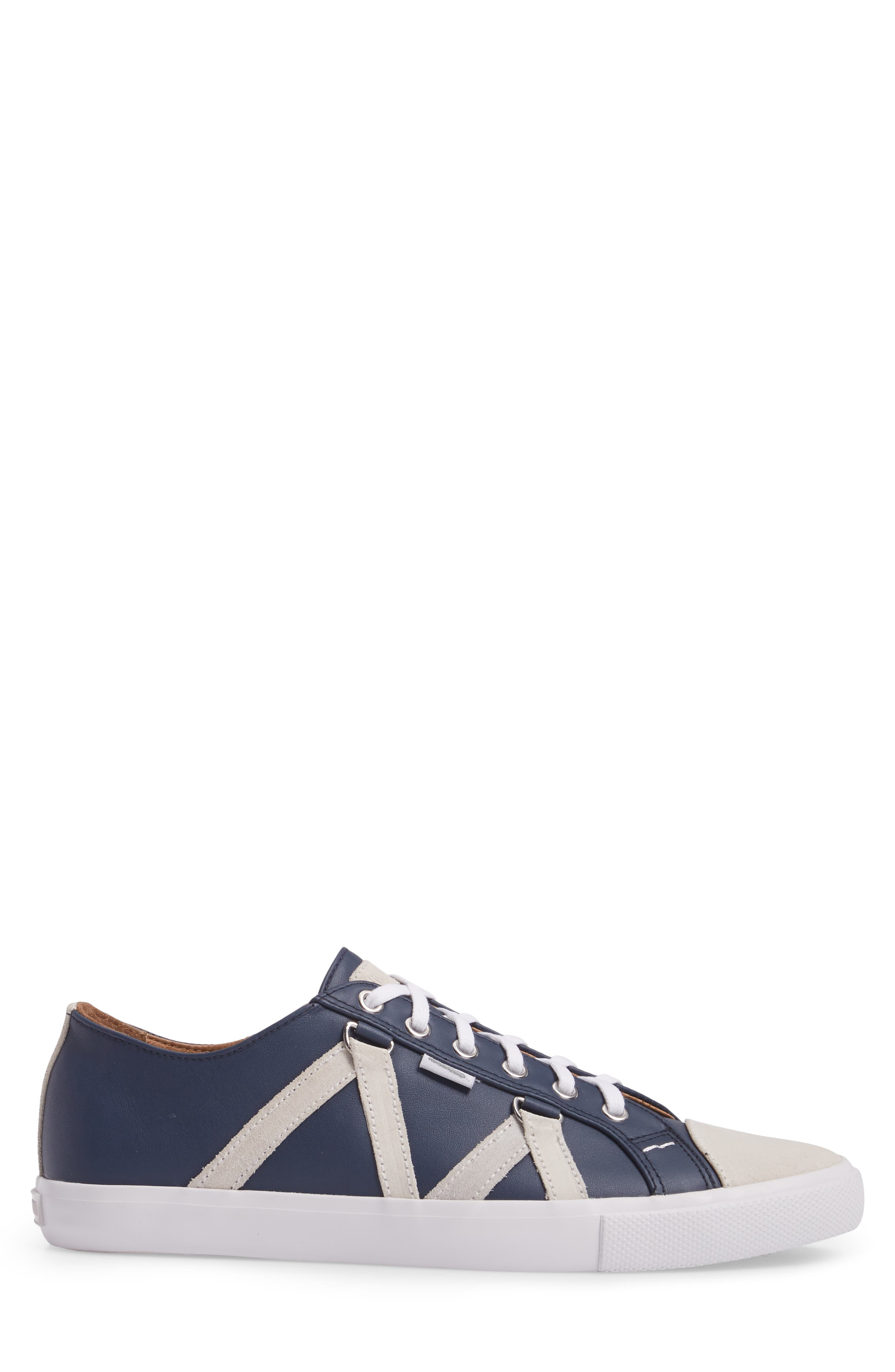 Signature Sneaker,                             Alternate thumbnail 3, color,                             NAVY LEATHER