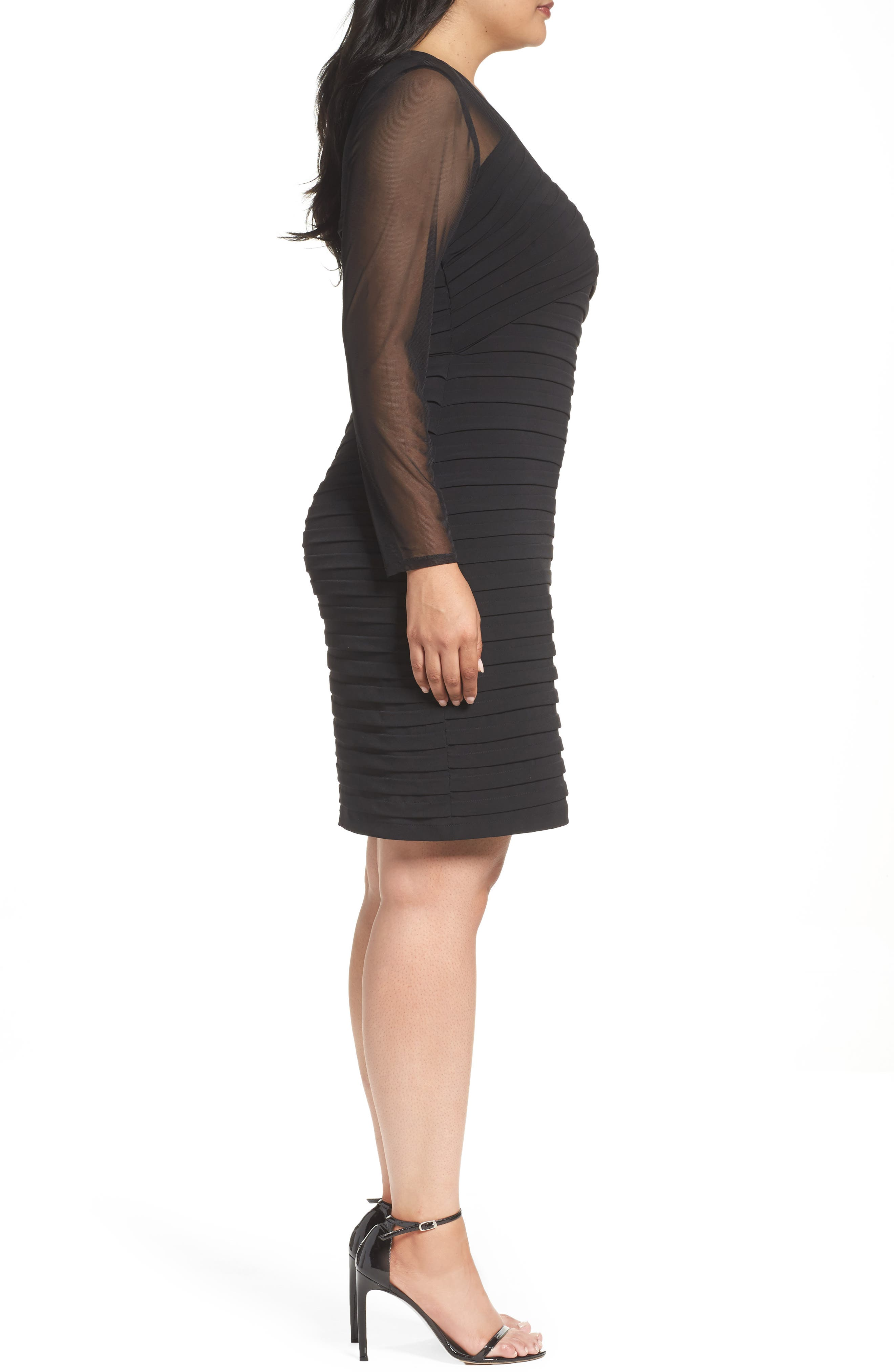 Shutter Pleat Jersey Skeath Dress,                             Alternate thumbnail 3, color,                             BLACK