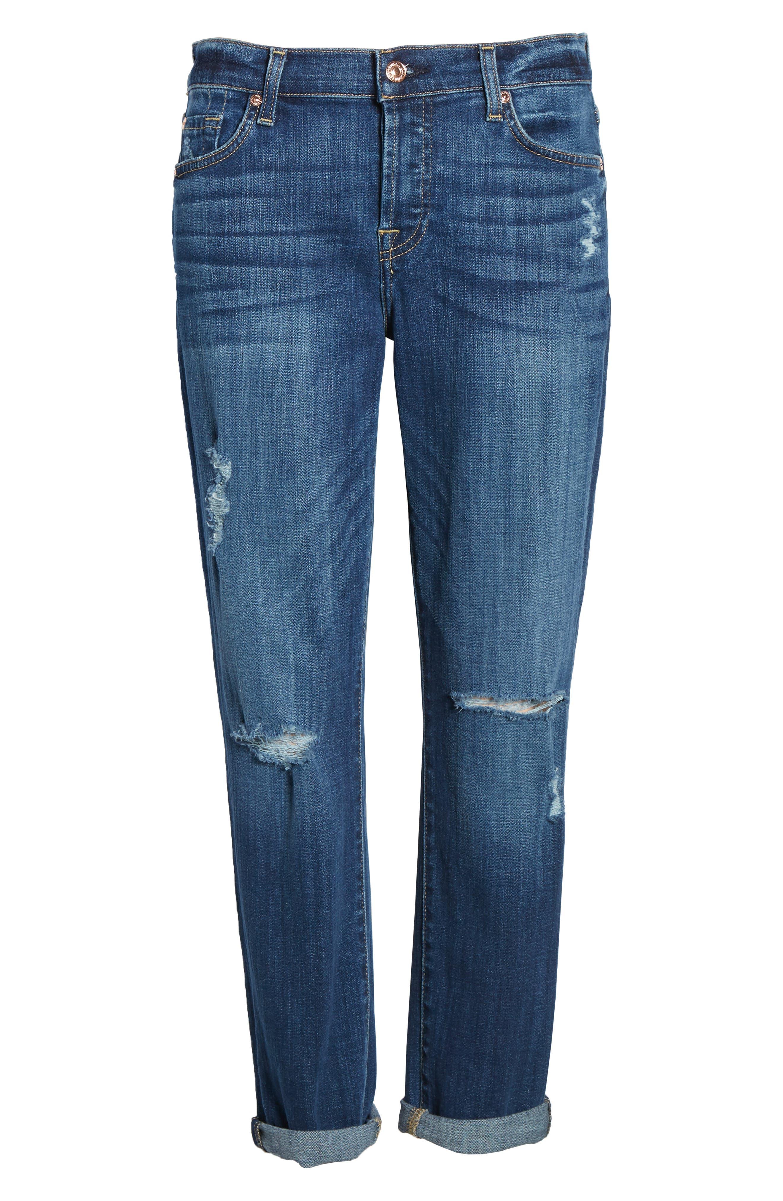 Josefina Boyfriend Jeans,                             Alternate thumbnail 6, color,                             BROKEN TWILL VANITY W/ DESTROY
