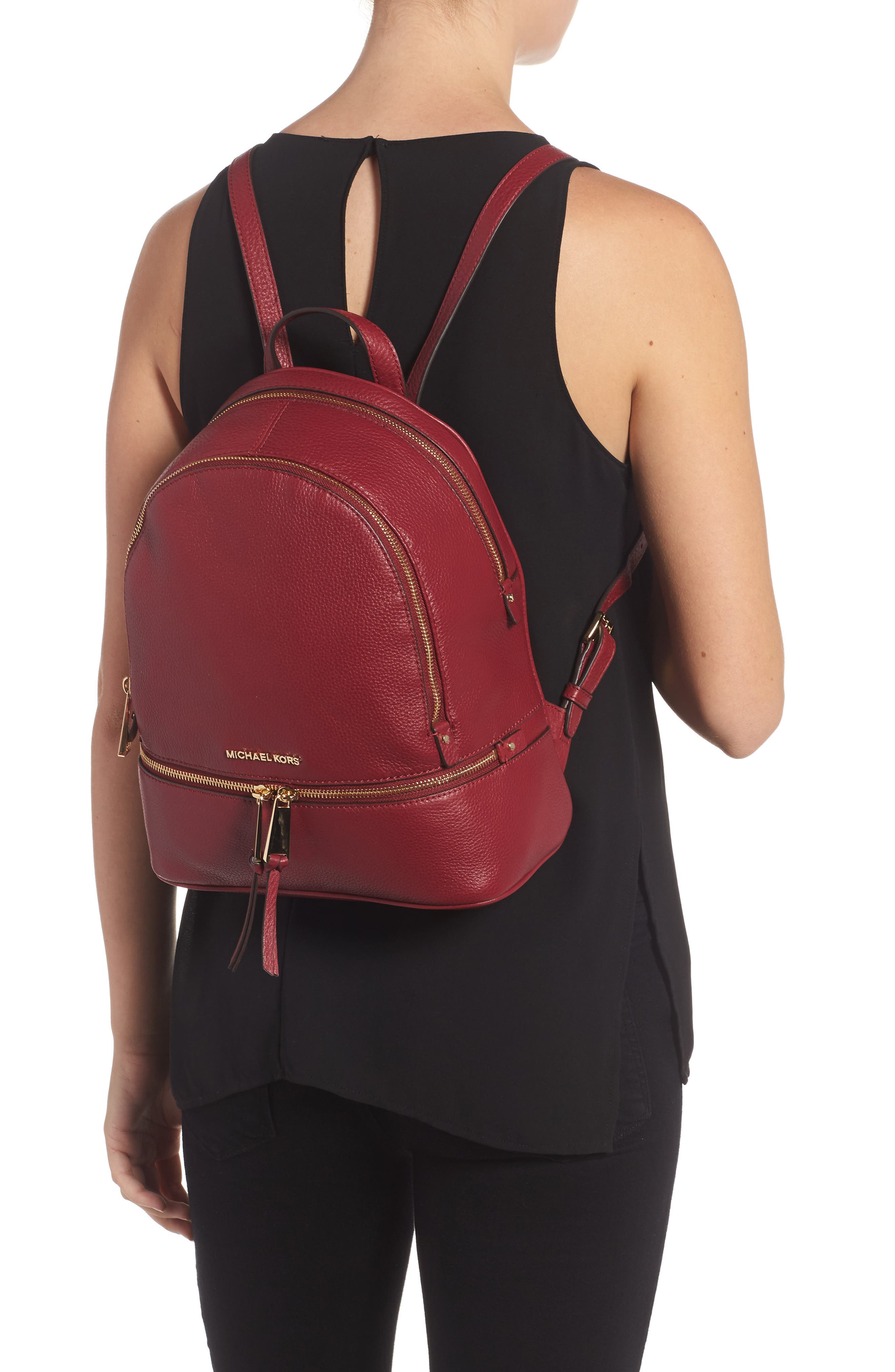 'Extra Small Rhea Zip' Leather Backpack,                             Alternate thumbnail 2, color,                             646