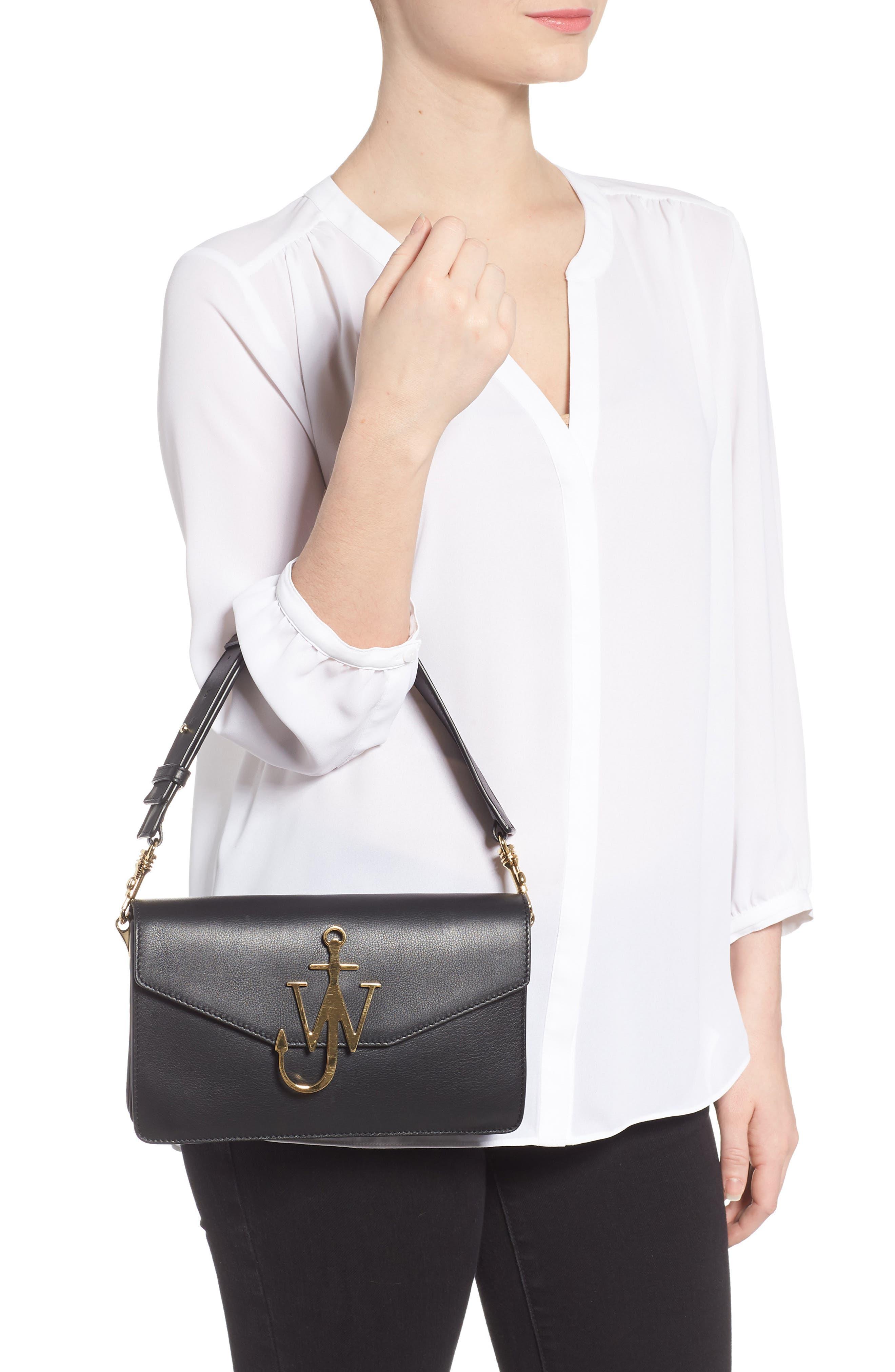 Logo Leather Shoulder Bag,                             Alternate thumbnail 2, color,                             001