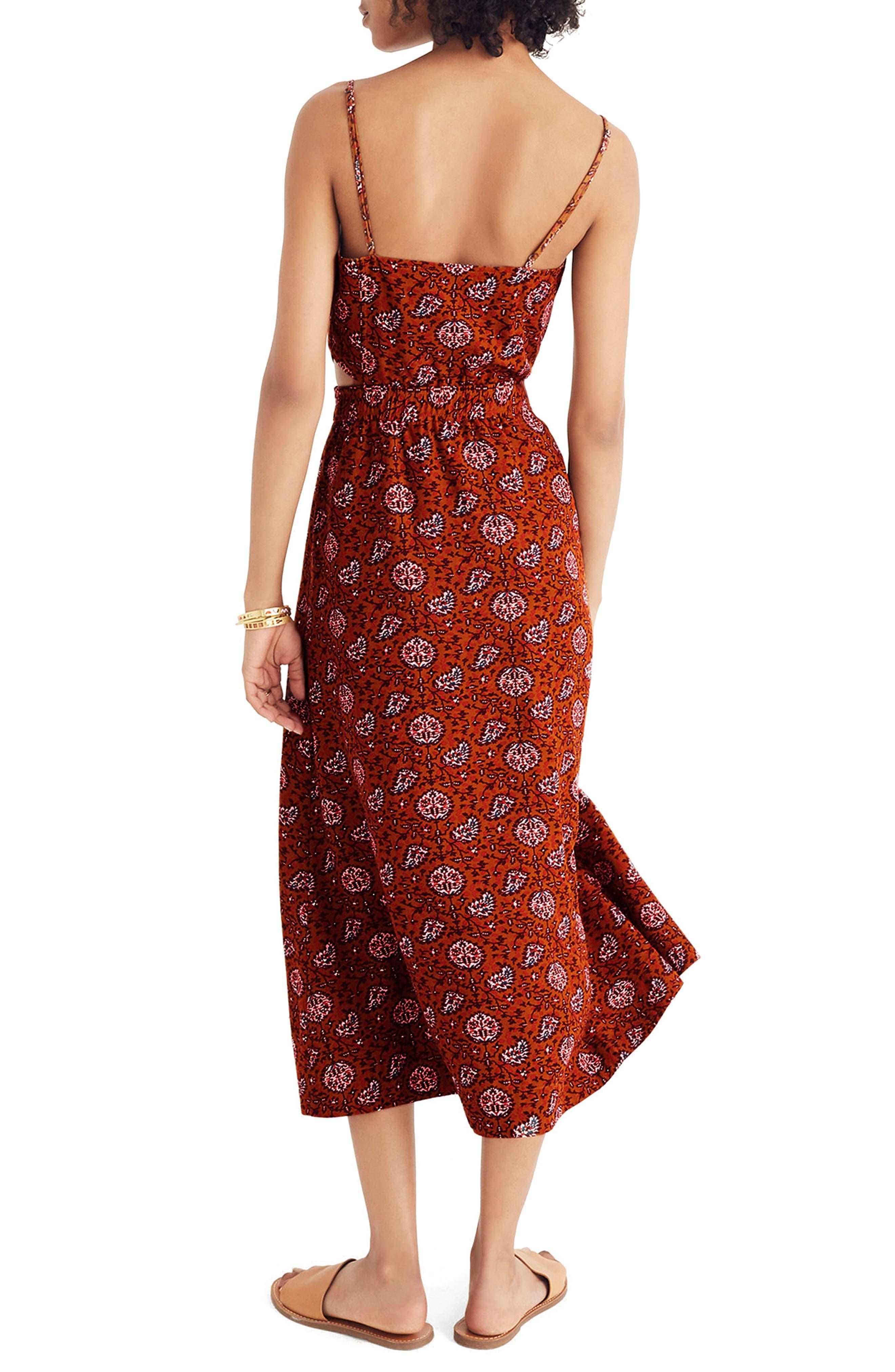 MADEWELL,                             Warm Paisley Cutout Camisole Midi Dress,                             Alternate thumbnail 2, color,                             200