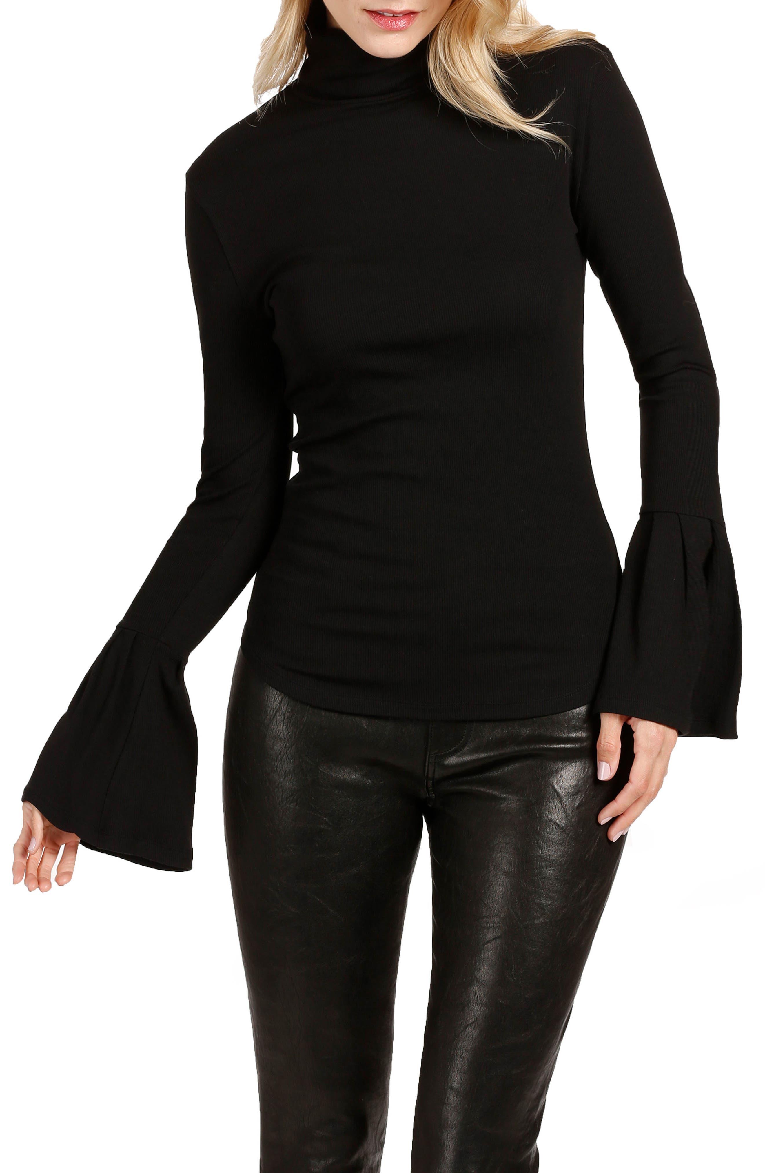 Kenzie Bell Sleeve Turtleneck,                         Main,                         color, BLACK