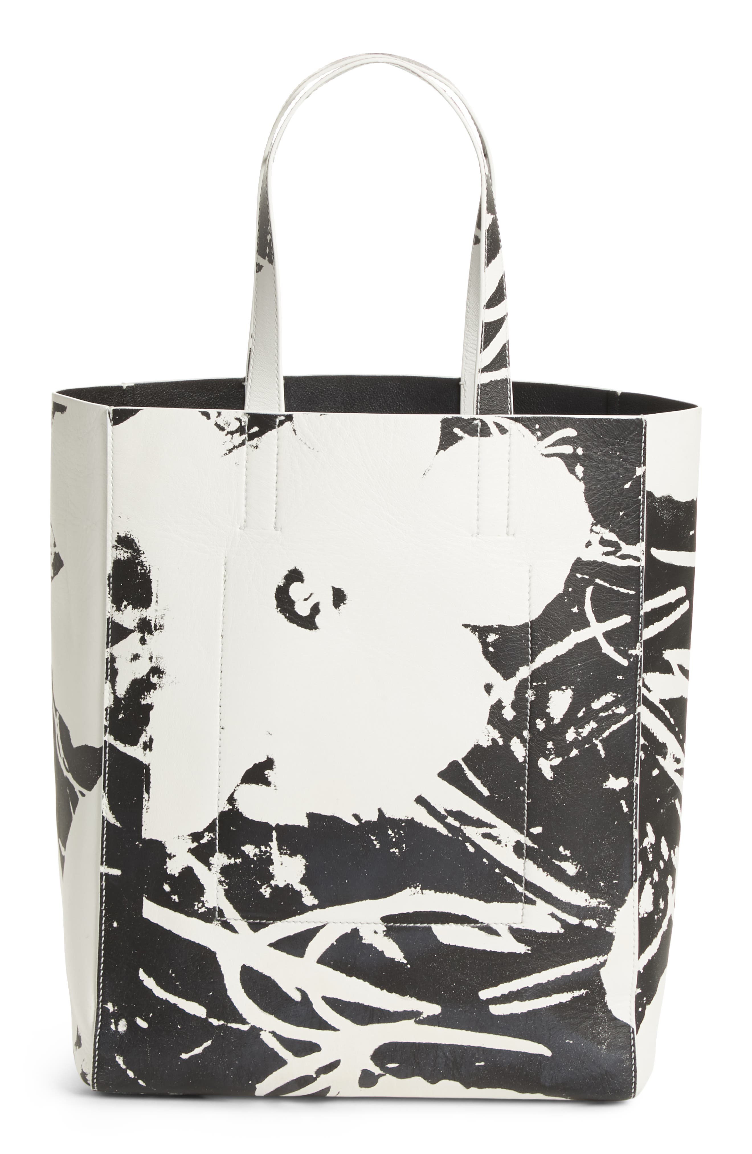 x Andy Warhol Foundation Flowers Leather Tote,                             Alternate thumbnail 3, color,                             WHITE/ BLACK