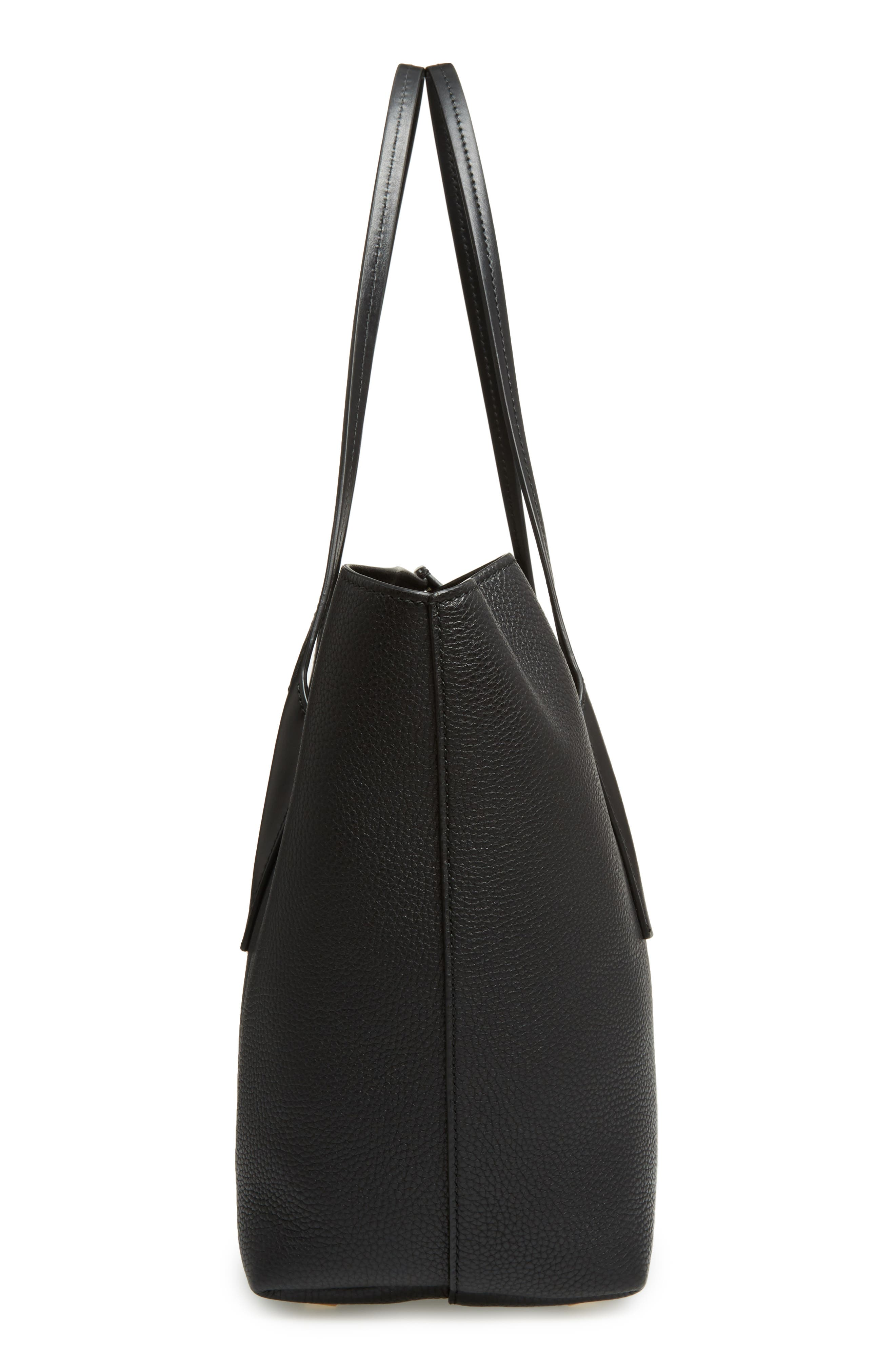 Large Bancroft Leather Tote,                             Alternate thumbnail 5, color,                             BLACK