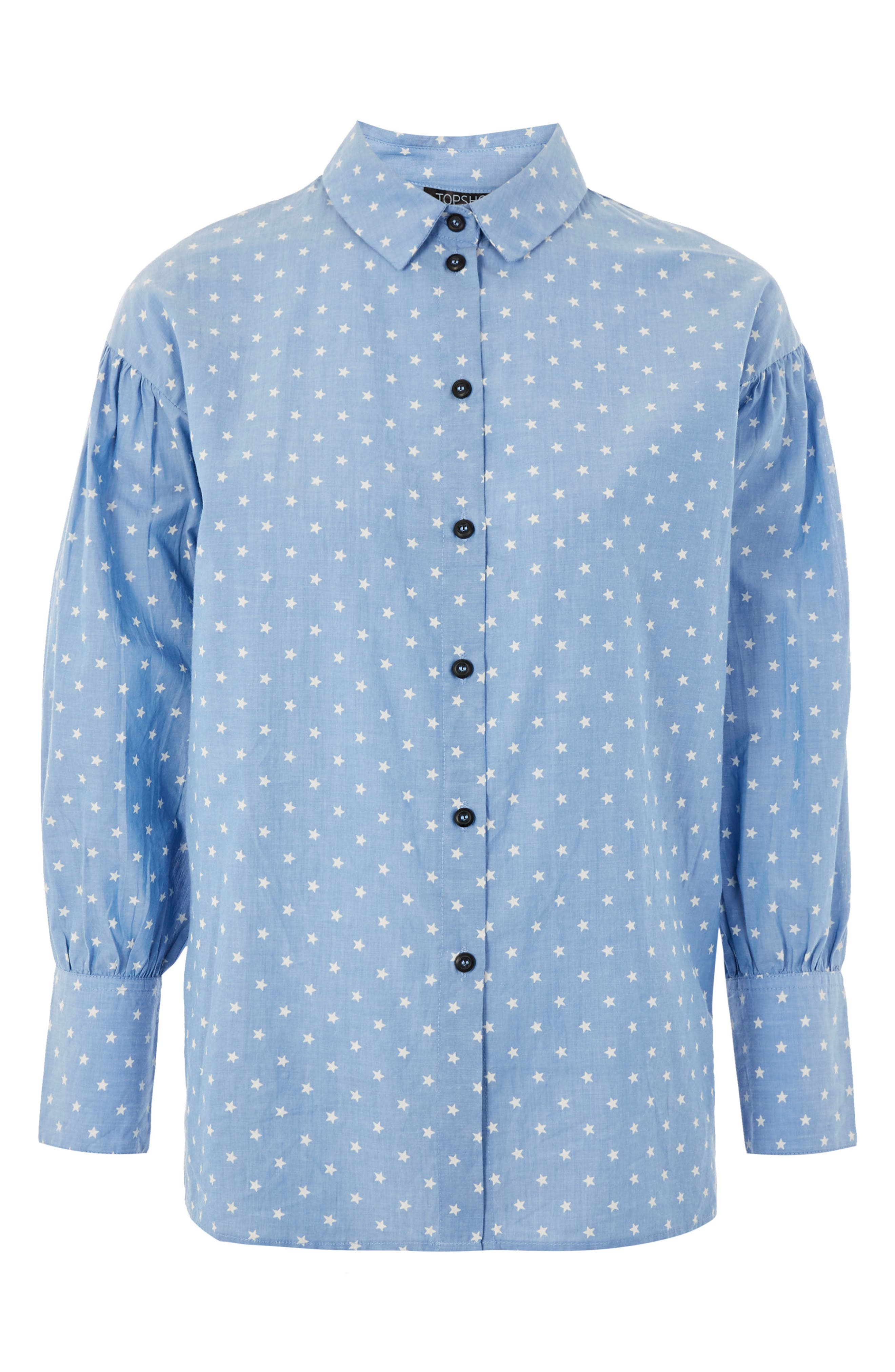Star Print Chambray Shirt,                             Alternate thumbnail 4, color,                             400