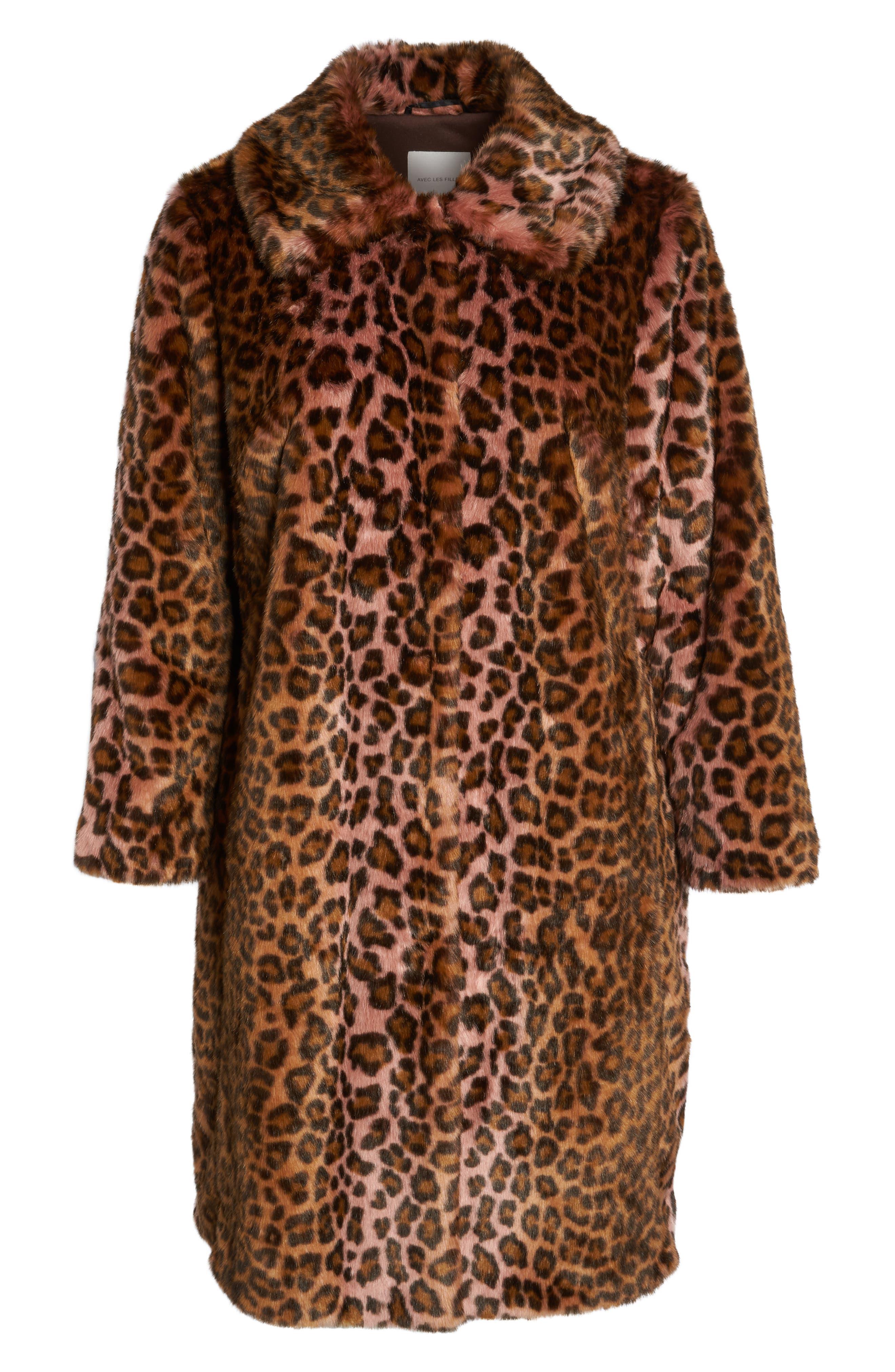 Leopard Print Faux Fur Car Coat,                             Alternate thumbnail 6, color,                             PINK LEOPARD